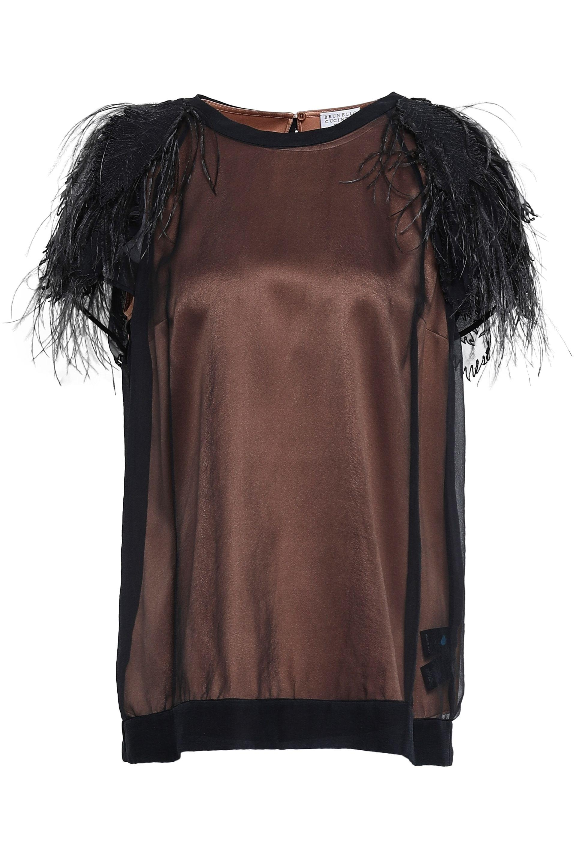 6077160b7140d Brunello Cucinelli. Women s Woman Layered Feather-trimmed Stretch-silk  Organza T-shirt Black
