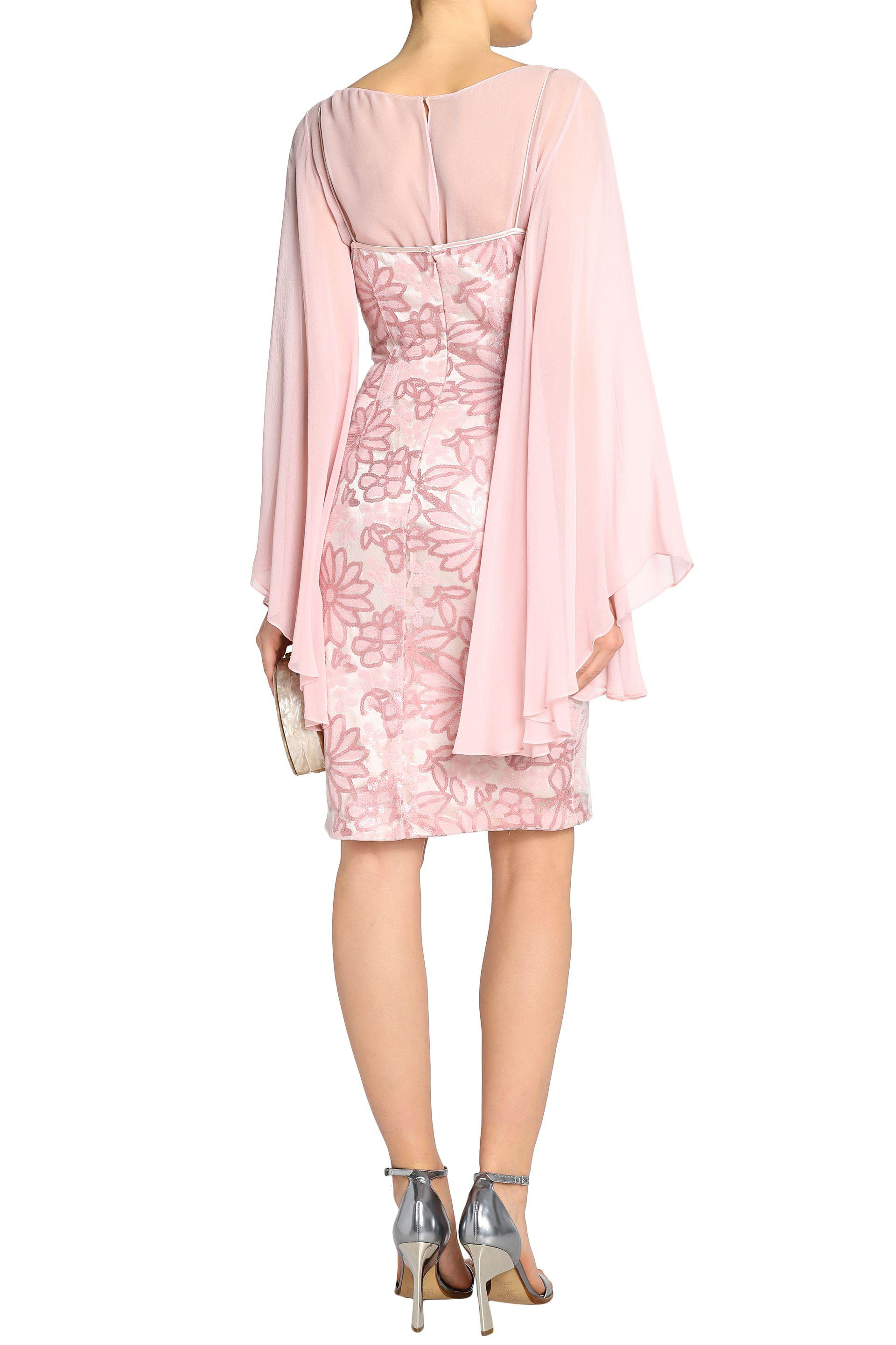 Mikael Aghal Woman Silk Chiffon-paneled Sequined Tulle Dress Pastel Pink Size 10 Mikael Aghal ADQH7