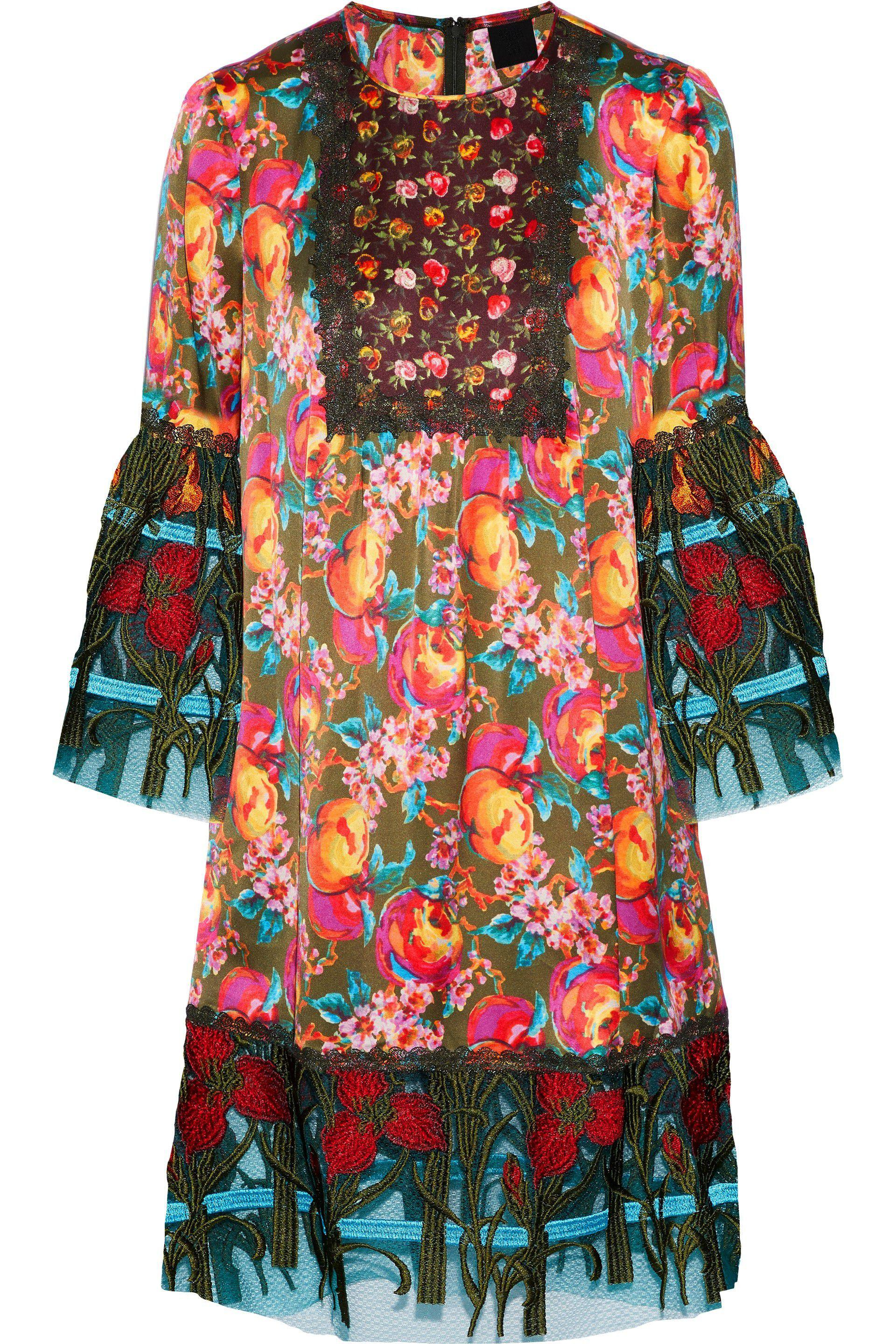 Anna Sui Woman Embroidered Tulle-paneled Printed Silk-blend Dress Multicolor Size M Anna Sui De1Omo