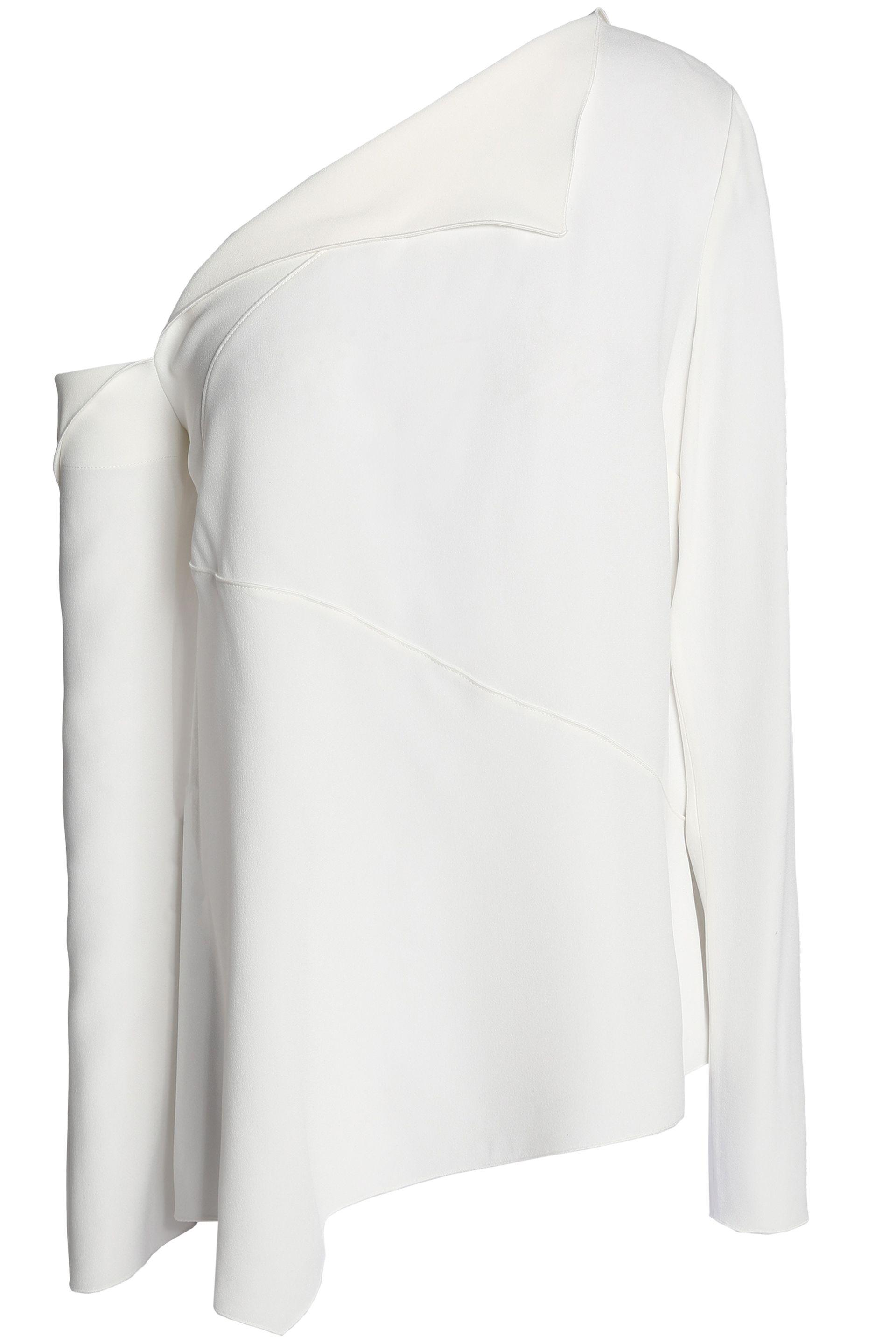 541f966c4bf0a2 Lyst - Proenza Schouler Woman One-shoulder Satin-crepe Top White in ...