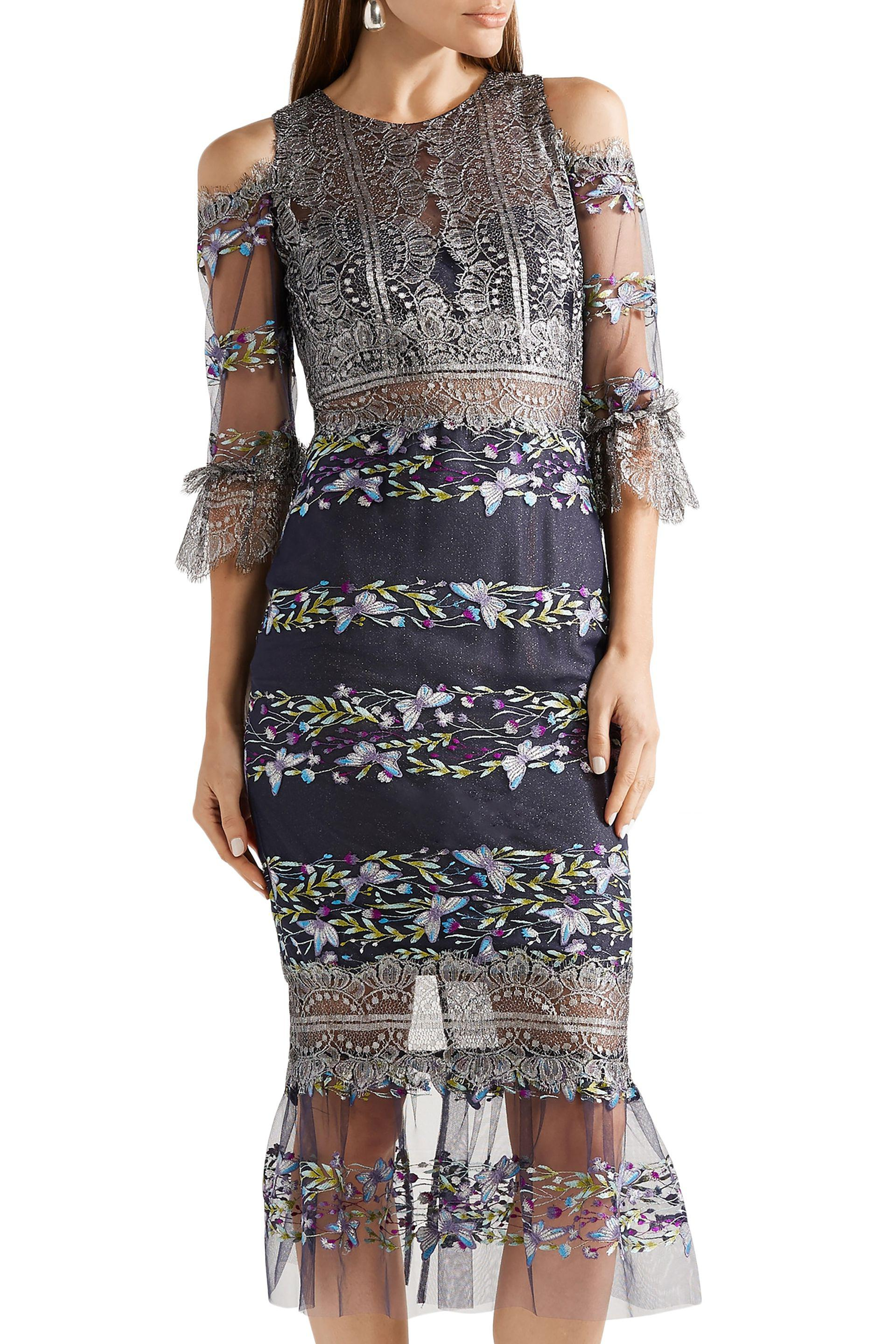 79c31341 Marchesa notte Woman Cold-shoulder Metallic Lace And Embroidered ...