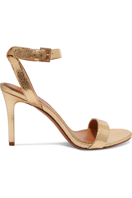 1906fa5f07ec Tory Burch Elana Metallic Textured-leather Sandals in Metallic - Lyst