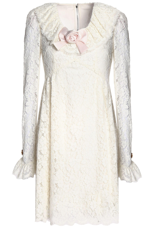 60f7df4a21f50 Dolce & Gabbana. Women's Woman Satin-appliquéd Corded-lace Mini Dress White