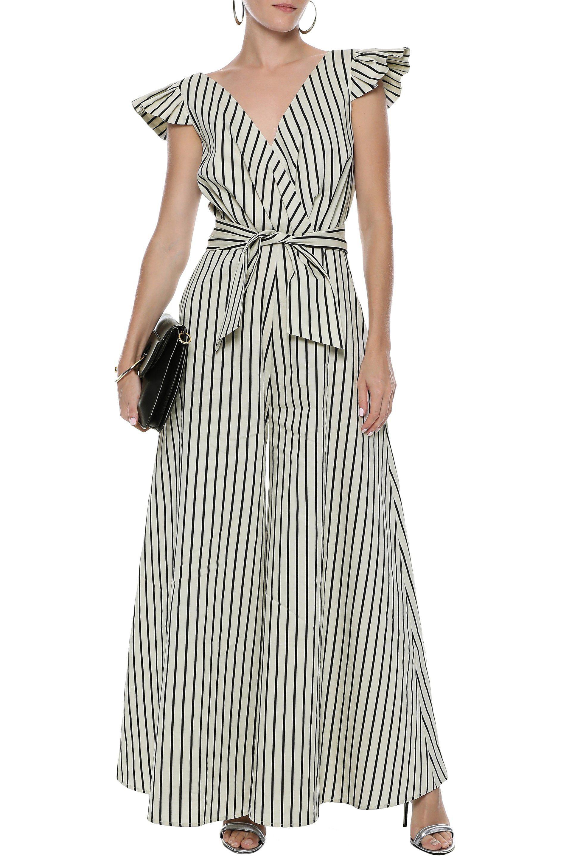 36fe6d7996c Paper London - Multicolor Maya Wrap-effect Striped Twill Jumpsuit - Lyst.  View fullscreen