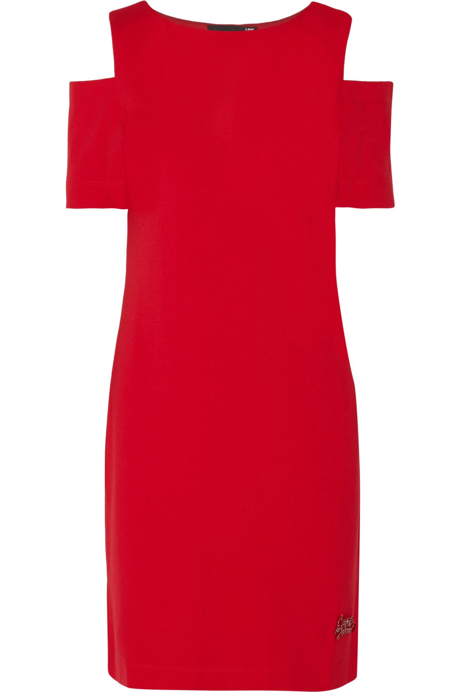 Amour Femme Moschino Mini Robe Ceinturée Taille Ponte Rouge 44 Amour Moschino YmADSv3