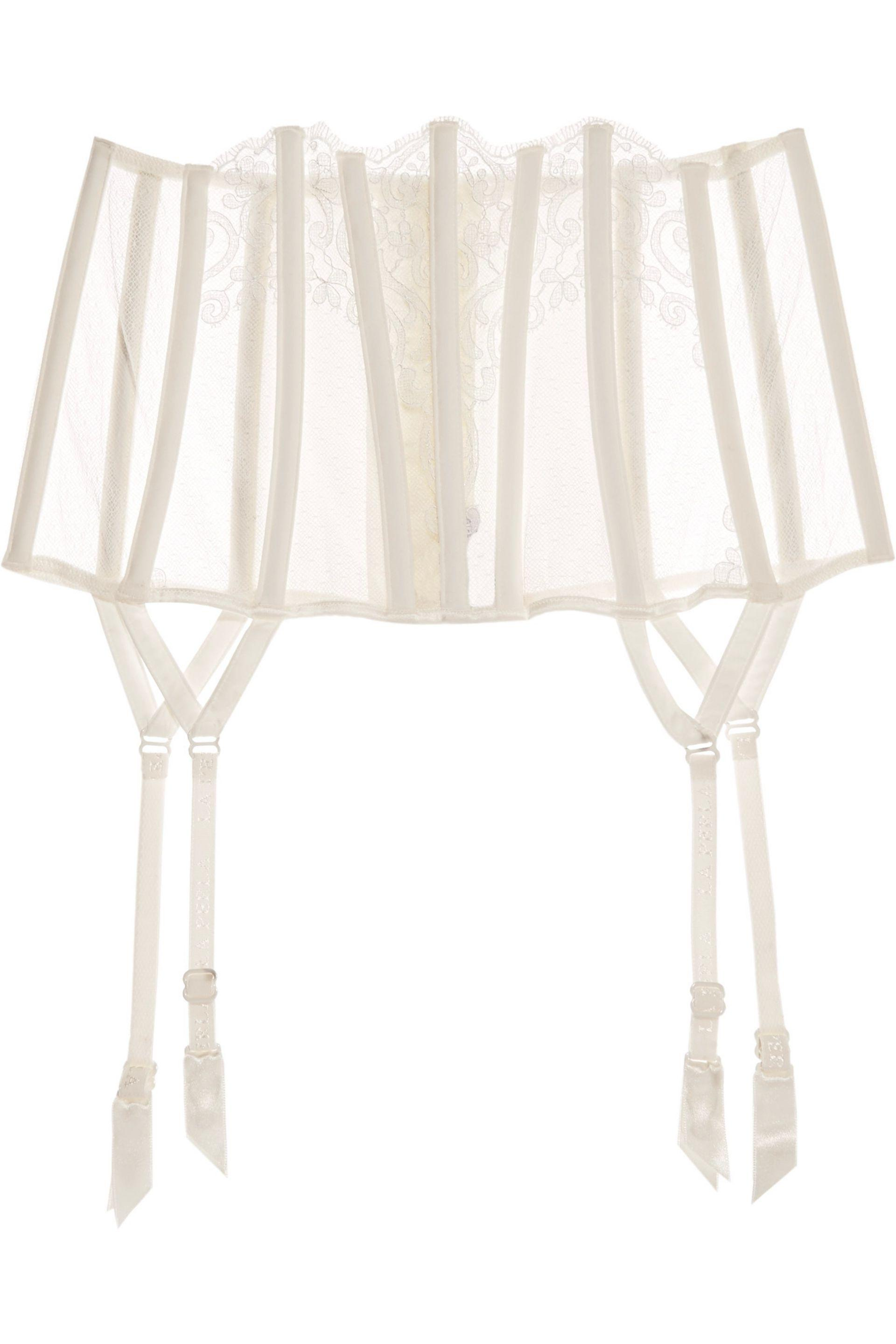 La Perla Woman Light And Shadow Lace And Point Desprit Suspender Belt Ivory Size II La Perla