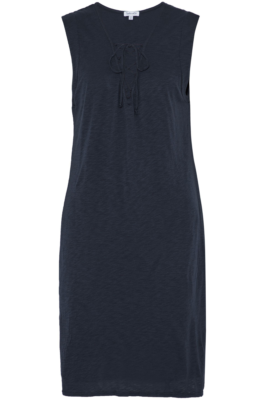 Splendid Woman Striped Slub Cotton And Modal-blend Jersey Mini Dress Navy Size XL Splendid wlSF0yA0N