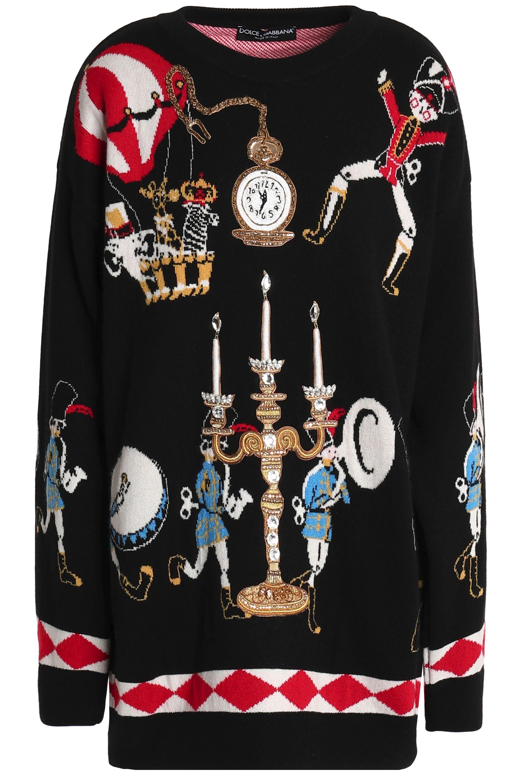 020aeb232973 Dolce   Gabbana. Women s Woman Embellished Jacquard-knit Cashmere Sweater  Black