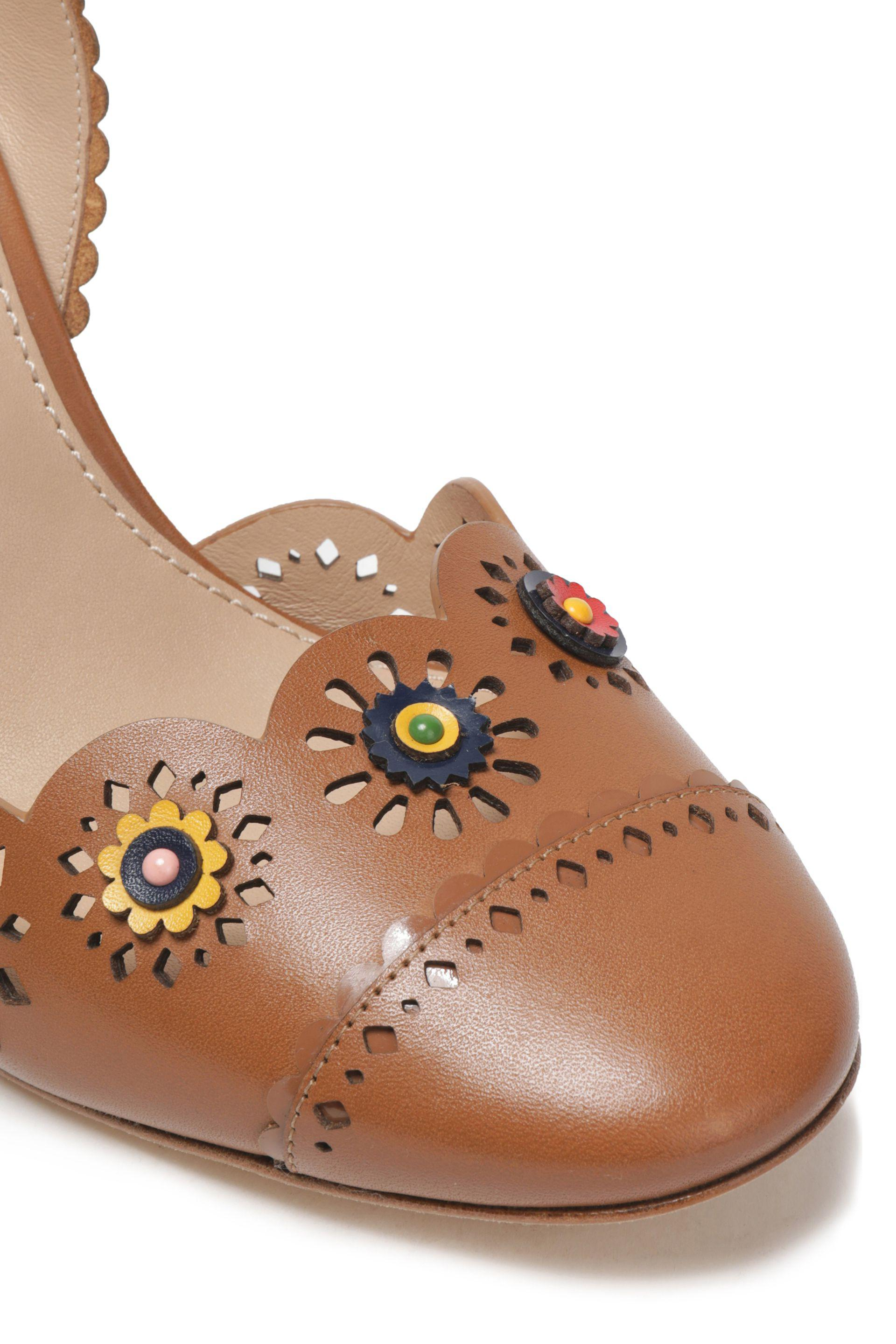 14122860925 Tory Burch Floral-appliqué Scalloped Leather Sandals in Brown - Lyst