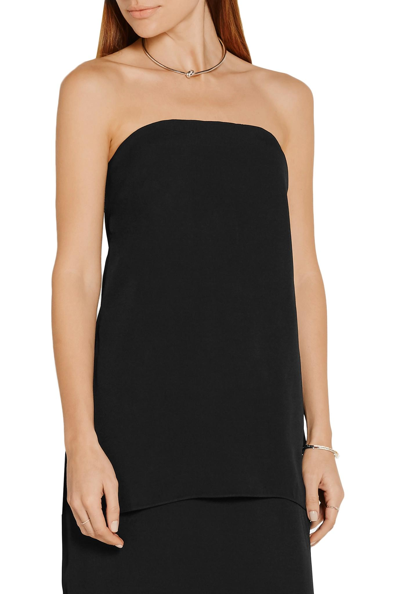 Lyst adam lippes strapless crepe bustier top in black for Adam lippes women s long sleeve vee t shirt