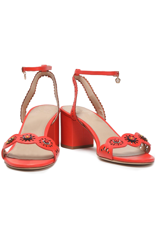 9033c121a32 Tory Burch - Red Woman Marguerite Floral-appliquéd Laser-cut Leather  Sandals Coral -. View fullscreen