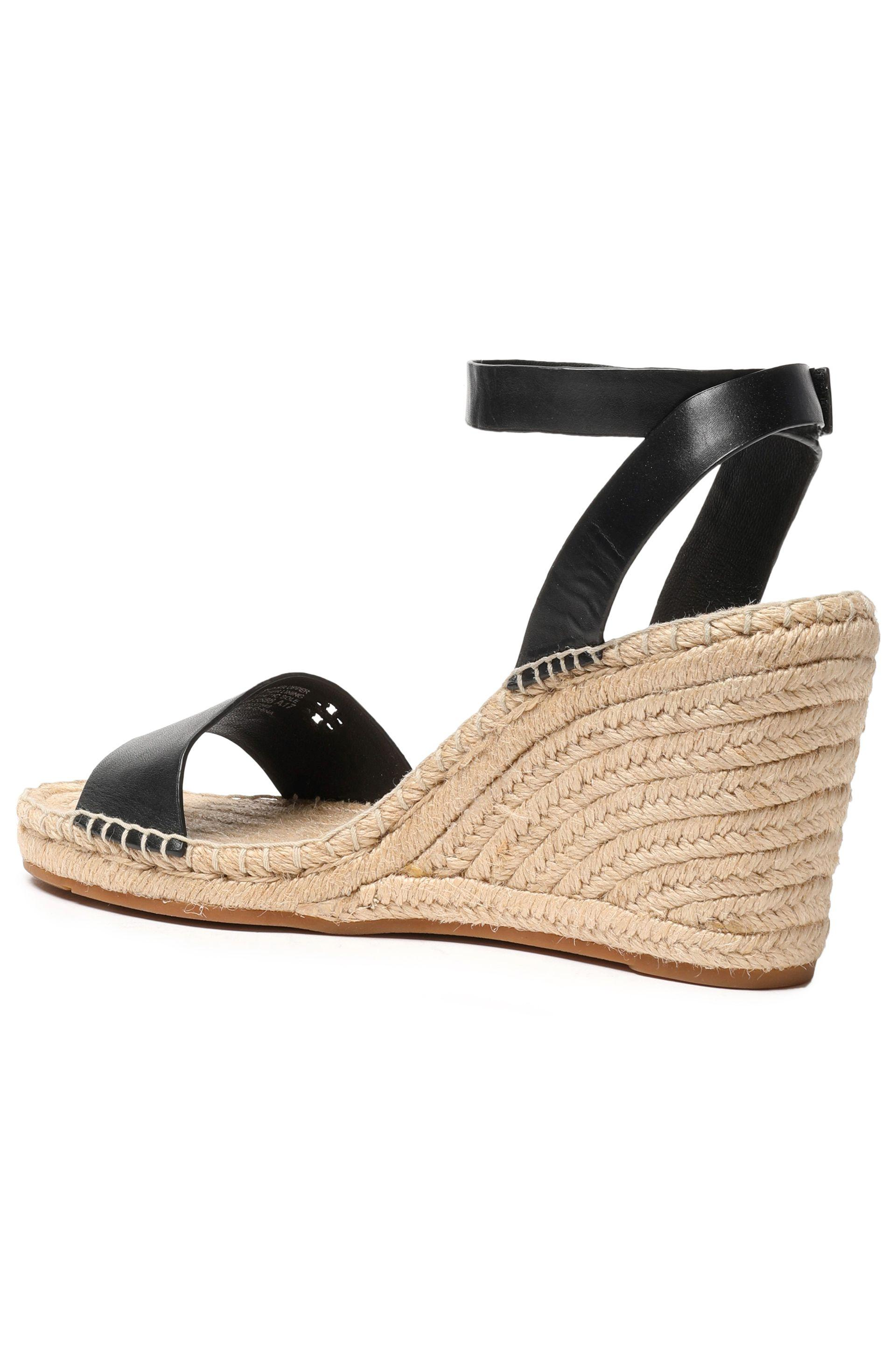 9630f129151 Tory Burch Woman Leather Espadrille Wedge Sandals Black in Black - Lyst