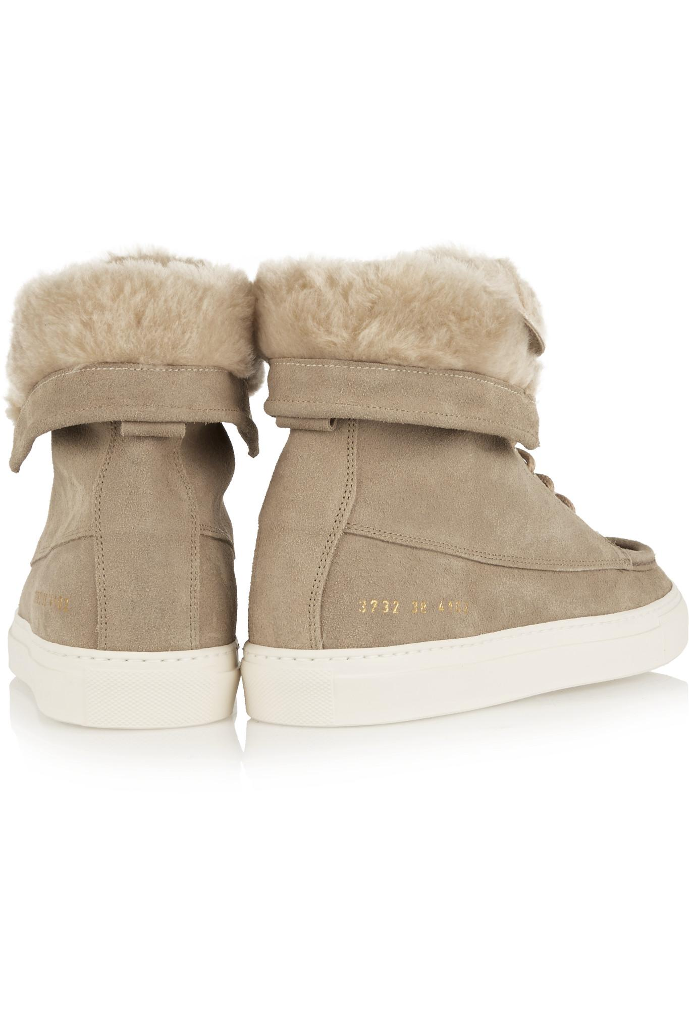 Lyst Common Projects Faux Shearling Lined Brushed Suede