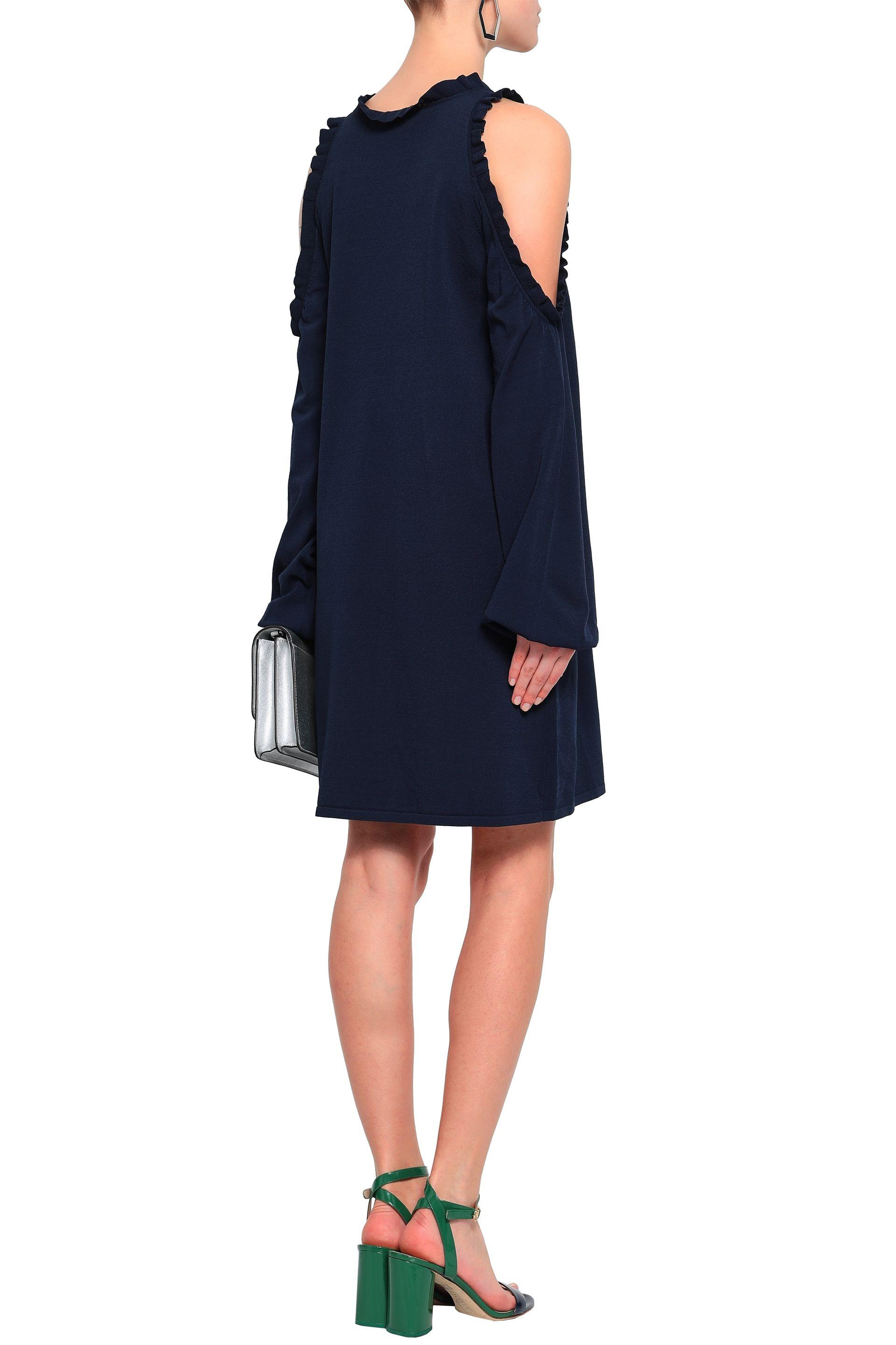 8ad4451bc443 MILLY - Blue Woman Cold-shoulder Ruffle-trimmed Stretch-knit Mini Dress  Navy. View fullscreen