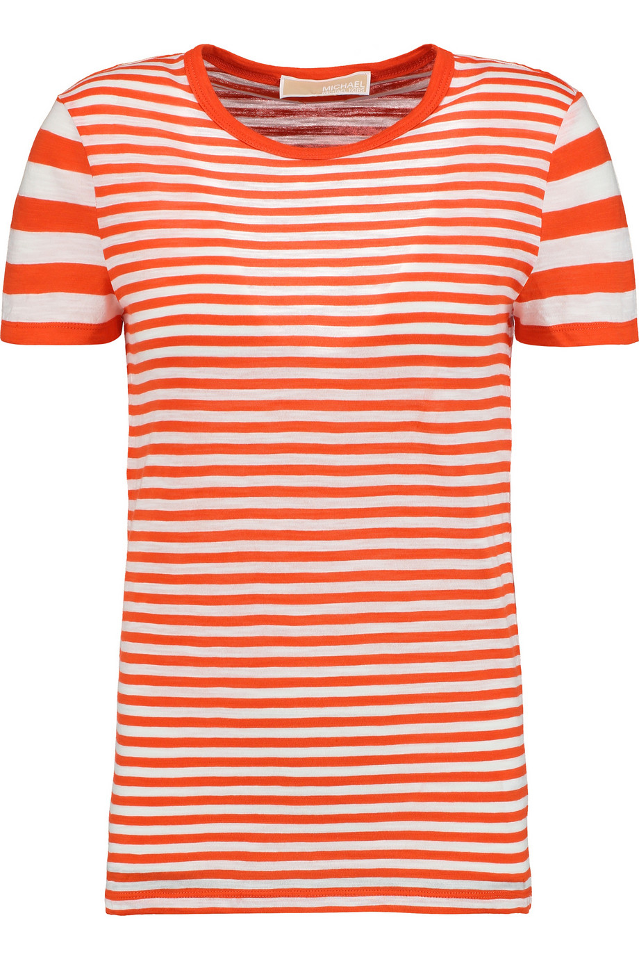 Michael michael kors Striped Cotton-jersey T-shirt in Red ...