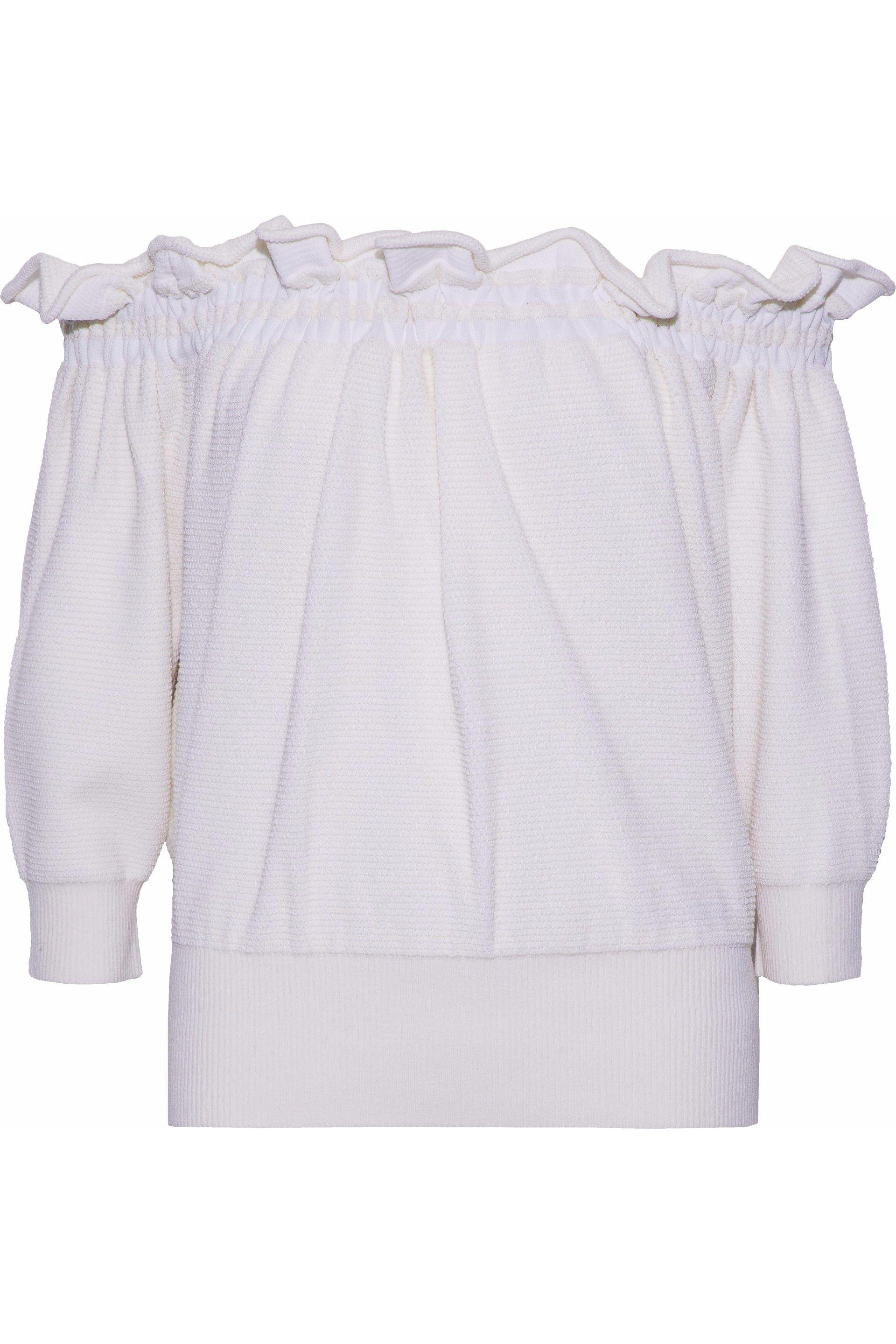 b45971d0ac1a9 Lyst - 3.1 Phillip Lim Woman Off-the-shoulder Ruffle-trimmed Waffle ...