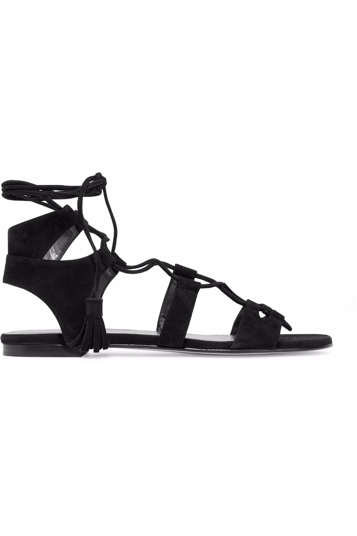 2c18bca1b7a9 Lyst - Stuart Weitzman Woman Lace-up Suede Sandals Black in Black ...