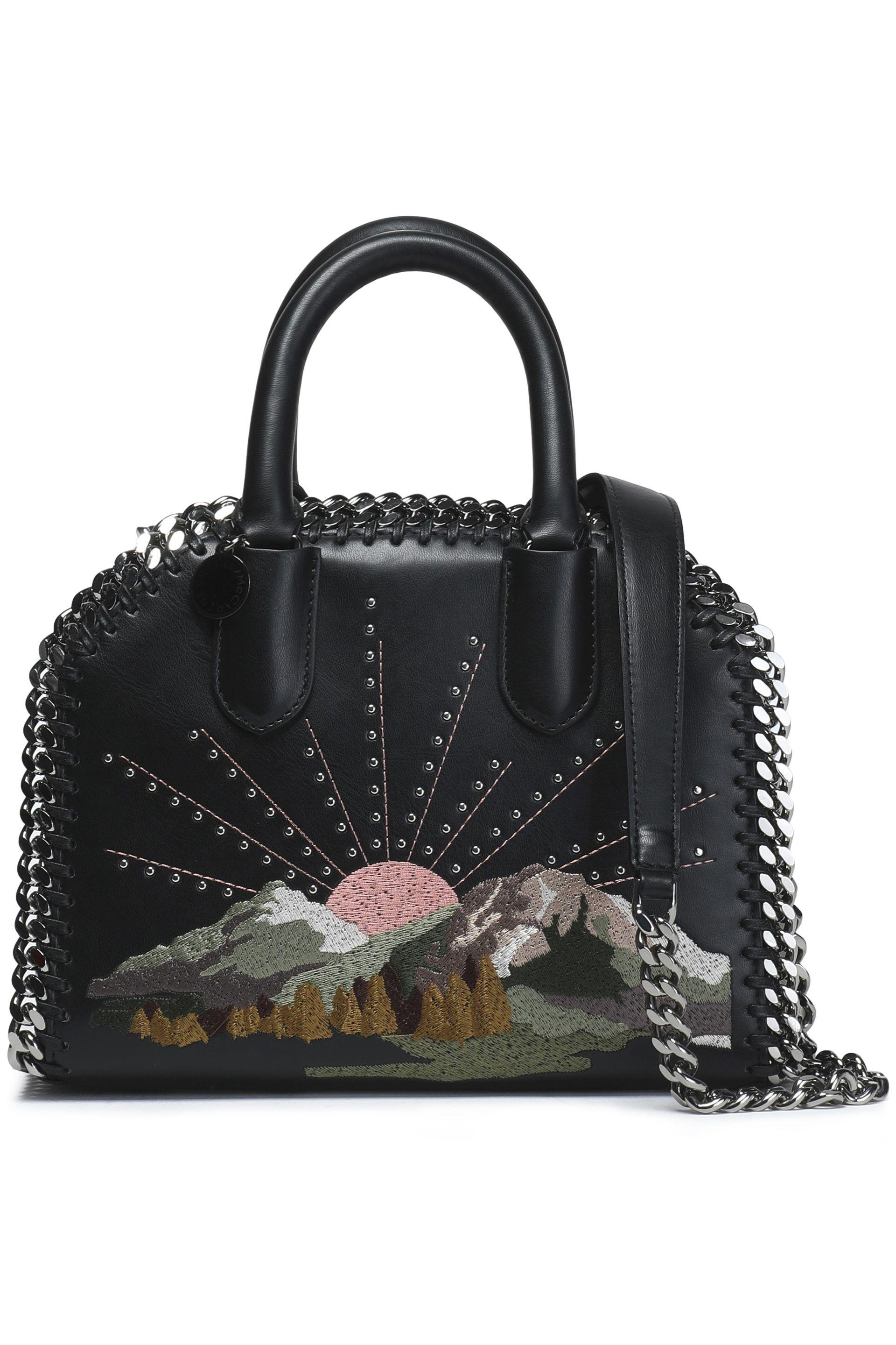 Stella McCartney Studded Embroidered Faux Leather Shoulder Bag in ... ac13c3994704c