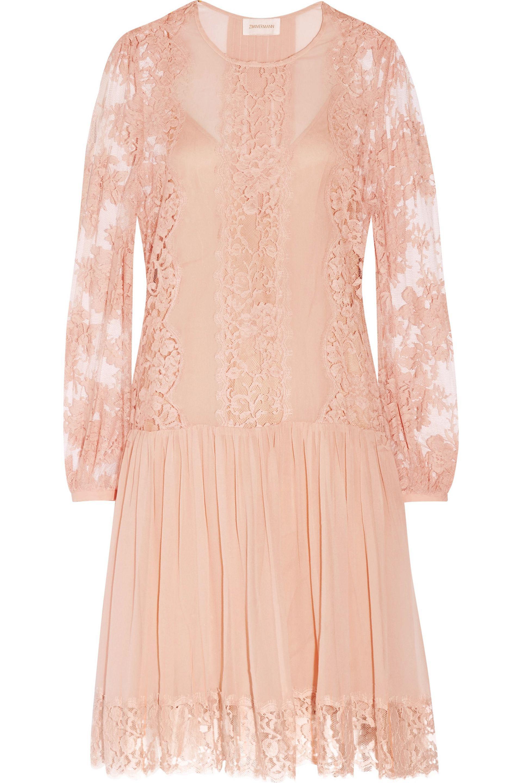 Zimmermann. Women's Pink Karmic Lace-paneled Silk-georgette Mini Dress