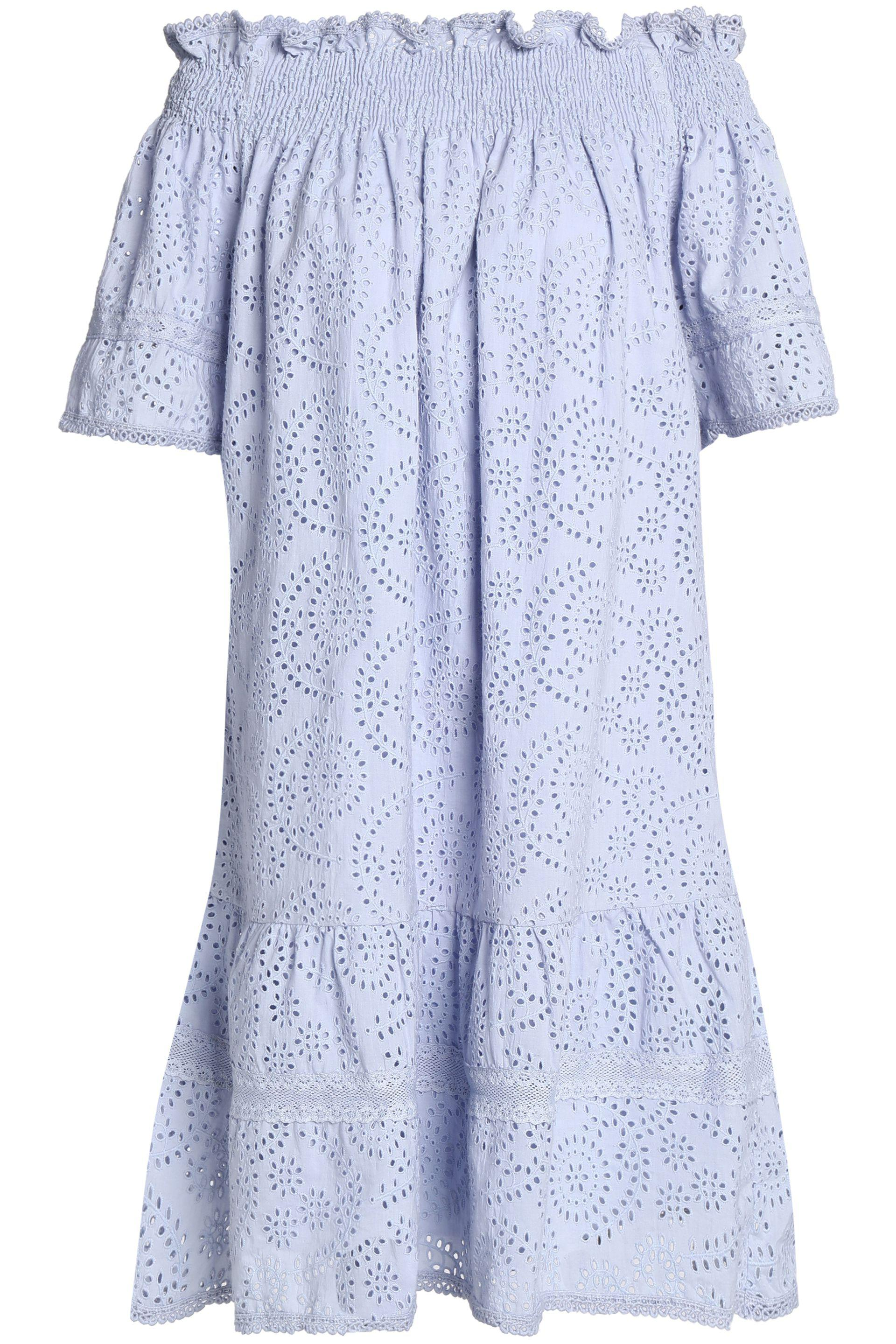 Needle & Thread Woman Off-the-shoulder Broderie Anglaise Cotton-poplin Dress White Size 12 Needle & Thread znhda9wReR