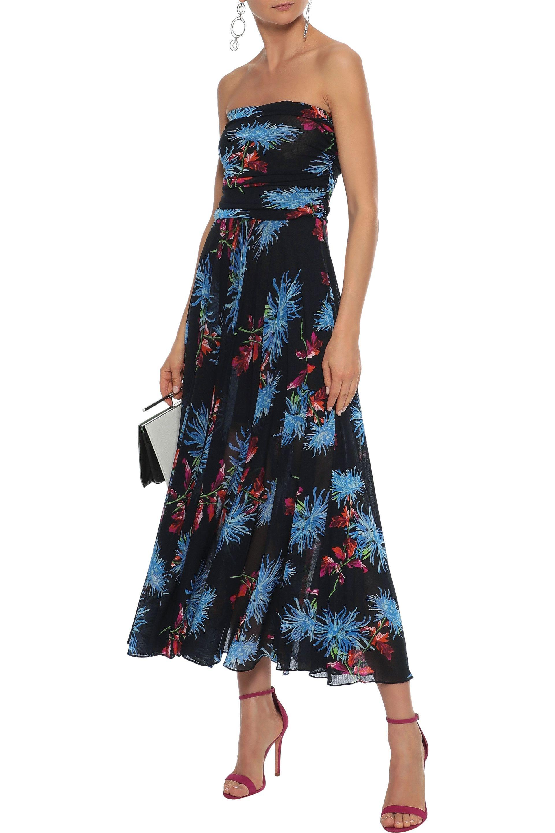 8dd0dafa8381 Diane von Furstenberg - Woman Strapless Pleated Floral-print Stretch-mesh  Midi Dress Black. View fullscreen