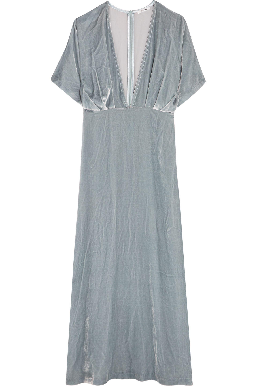 Lyst Ganni Velvet Maxi Dress Light Blue Size M in Blue