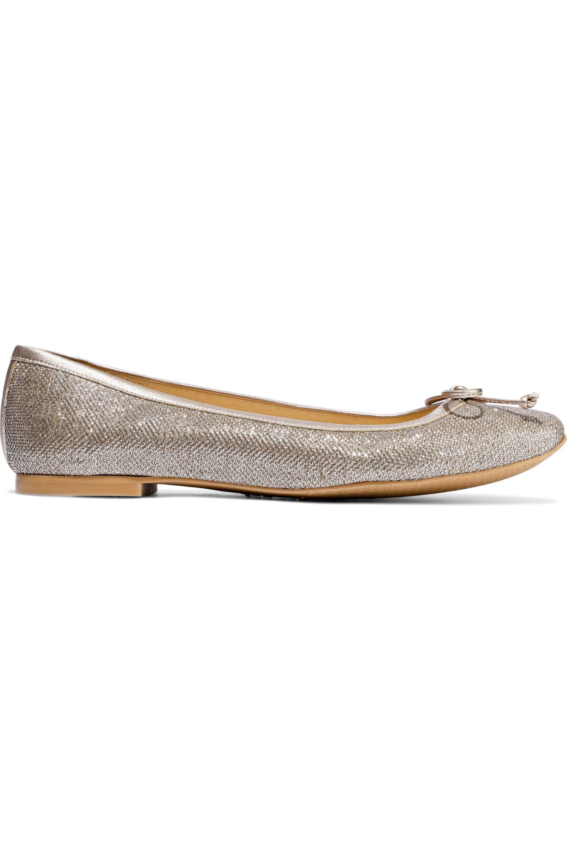 df24d0009395 Stuart Weitzman. Women's Metallic Woman Bow-embellished Glittered Woven Ballet  Flats ...