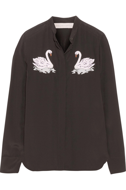 fb556b66aa245 Stella McCartney - Black Arlo Embroidered Silk Crepe De Chine Shirt - Lyst.  View fullscreen
