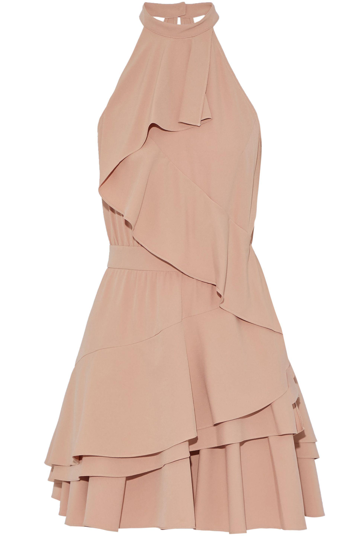 Marissa Webb Woman Cutout Ruffled Crepe De Chine Mini Dress Antique Rose Size L Marissa Webb QgkPrVCCHV