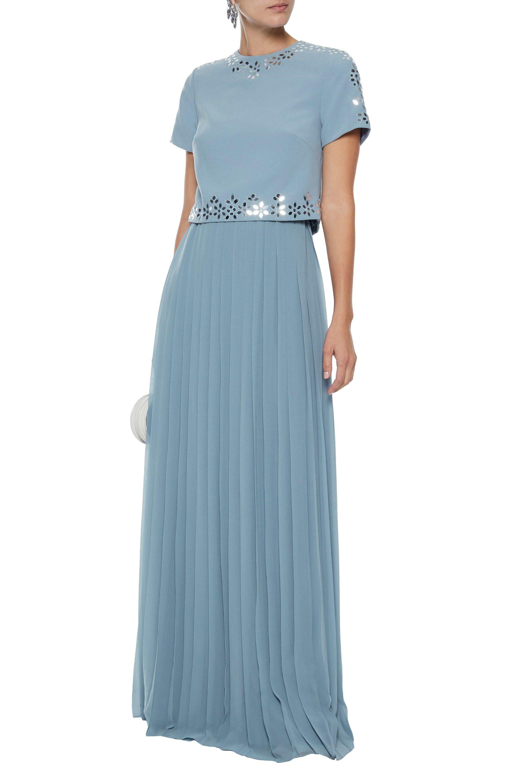 e3eb4d6b7a9d6 ... Layered Embellished Crepe And Pleated Chiffon Maxi Dress Light Blue -  Lyst. View fullscreen