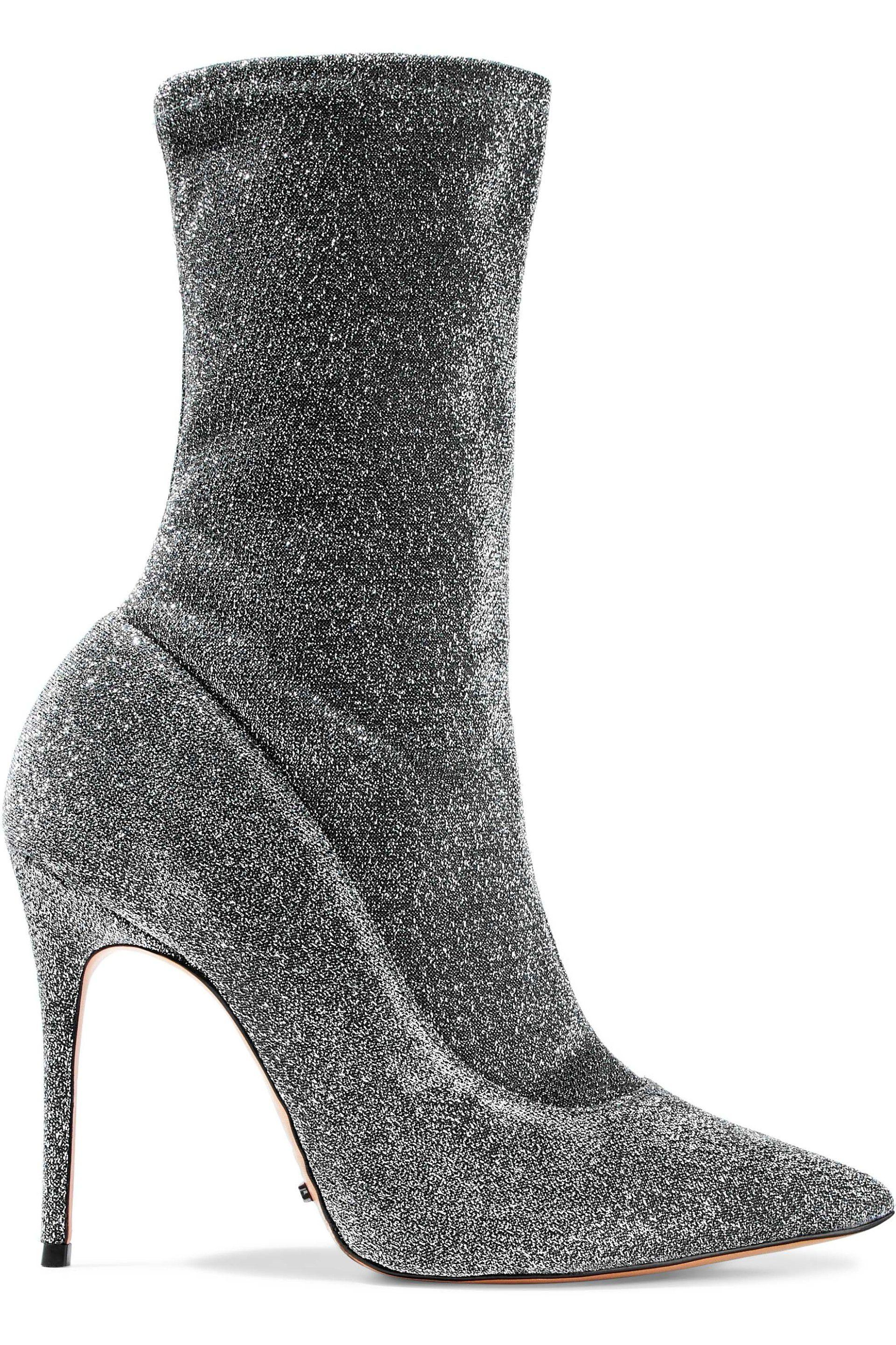 a39df3fff4a9 Schutz. Women s Woman Mislane Metallic Stretch-knit Ankle Boots Silver