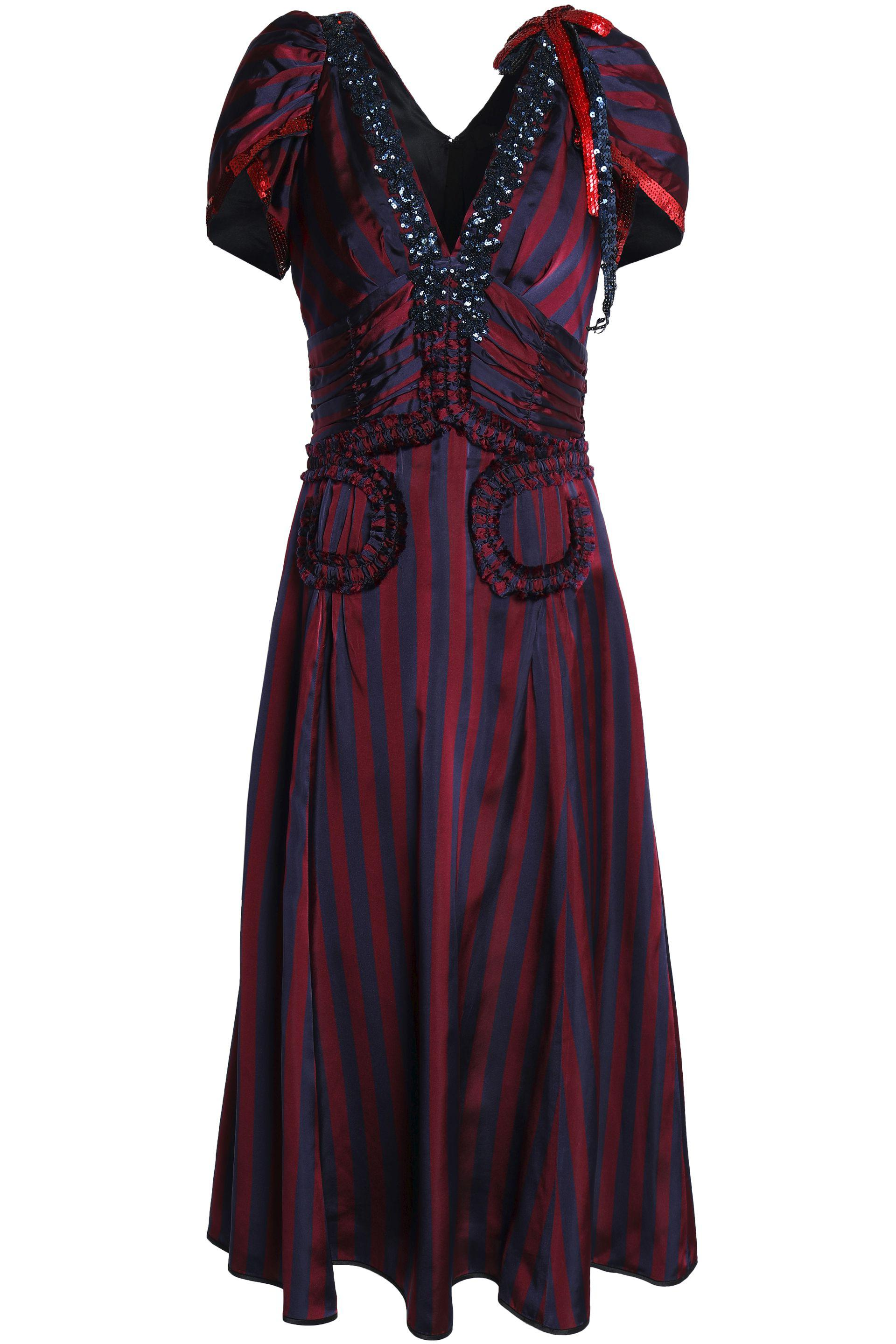 Marc Jacobs Woman Ruffle-trimmed Embellished Striped Satin Midi Dress Claret Size 2 Marc Jacobs Buy For Sale Outlet Store Free Shipping Low Cost Cheap Low Price Collections Cheap Price mdAZXGEJd