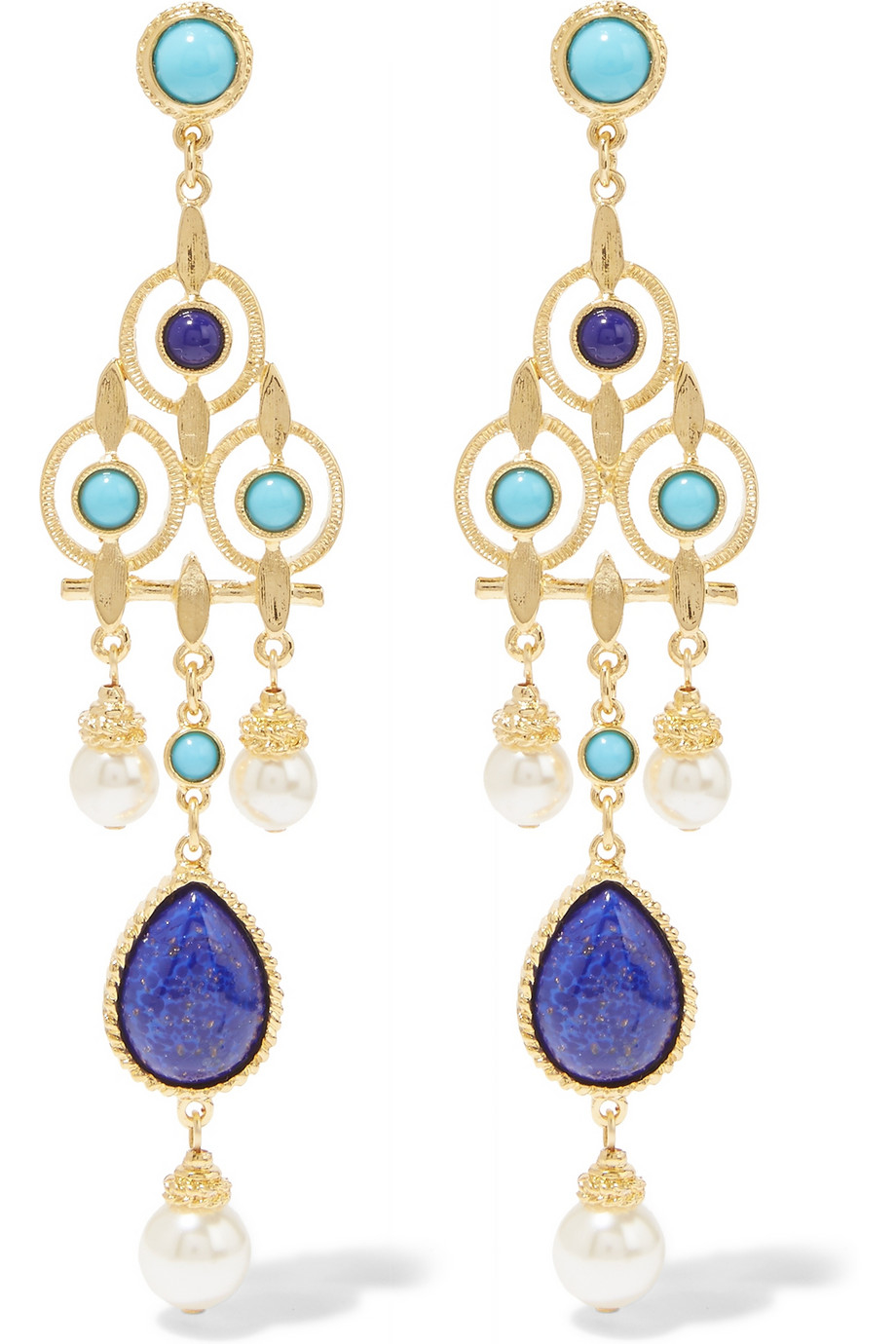 Ben-amun Gold-tone, Faux Pearl And Stone Earrings in Blue ...