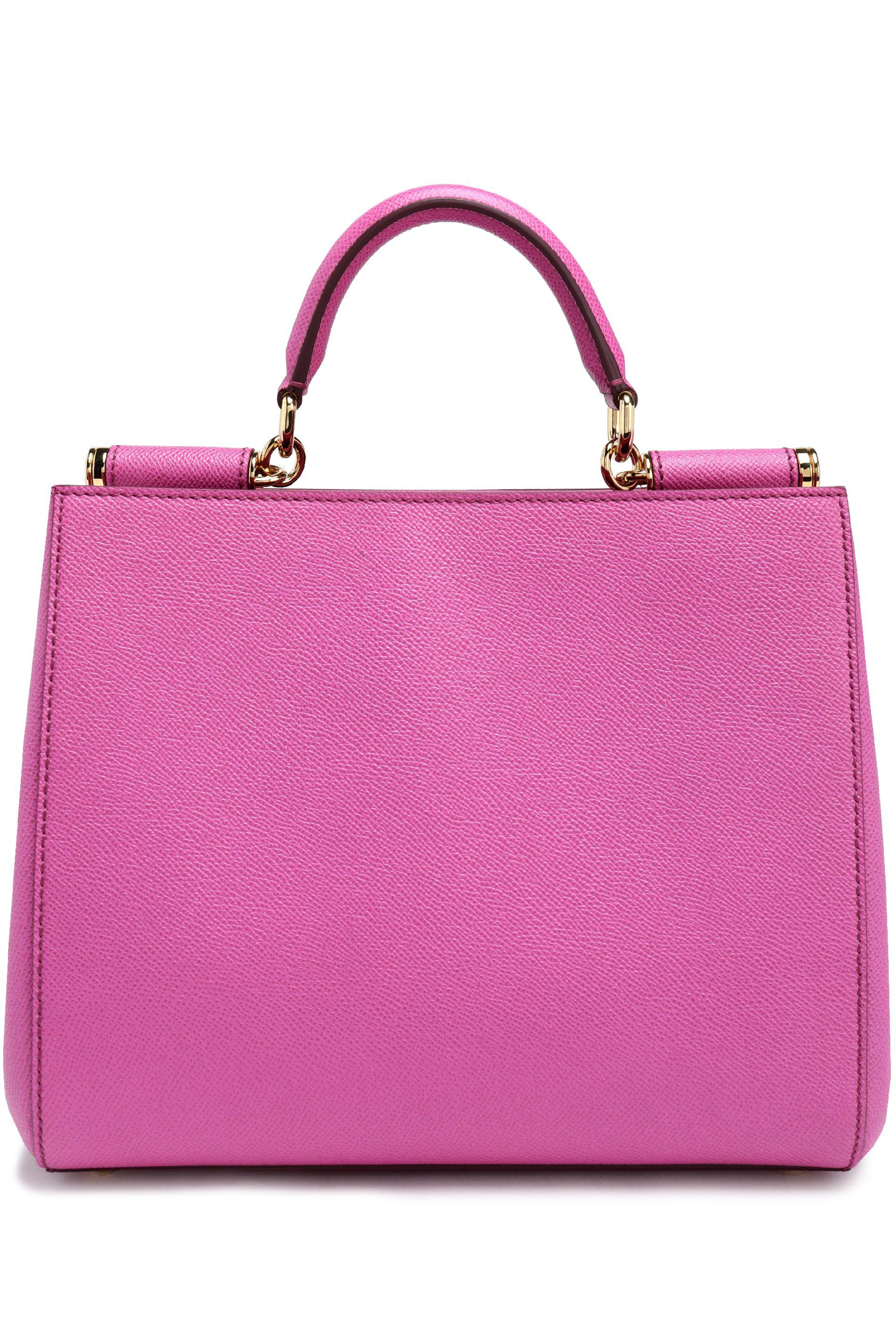 Lyst - Dolce   Gabbana Textured-leather Shoulder Bag in Pink a9fb57a76746c