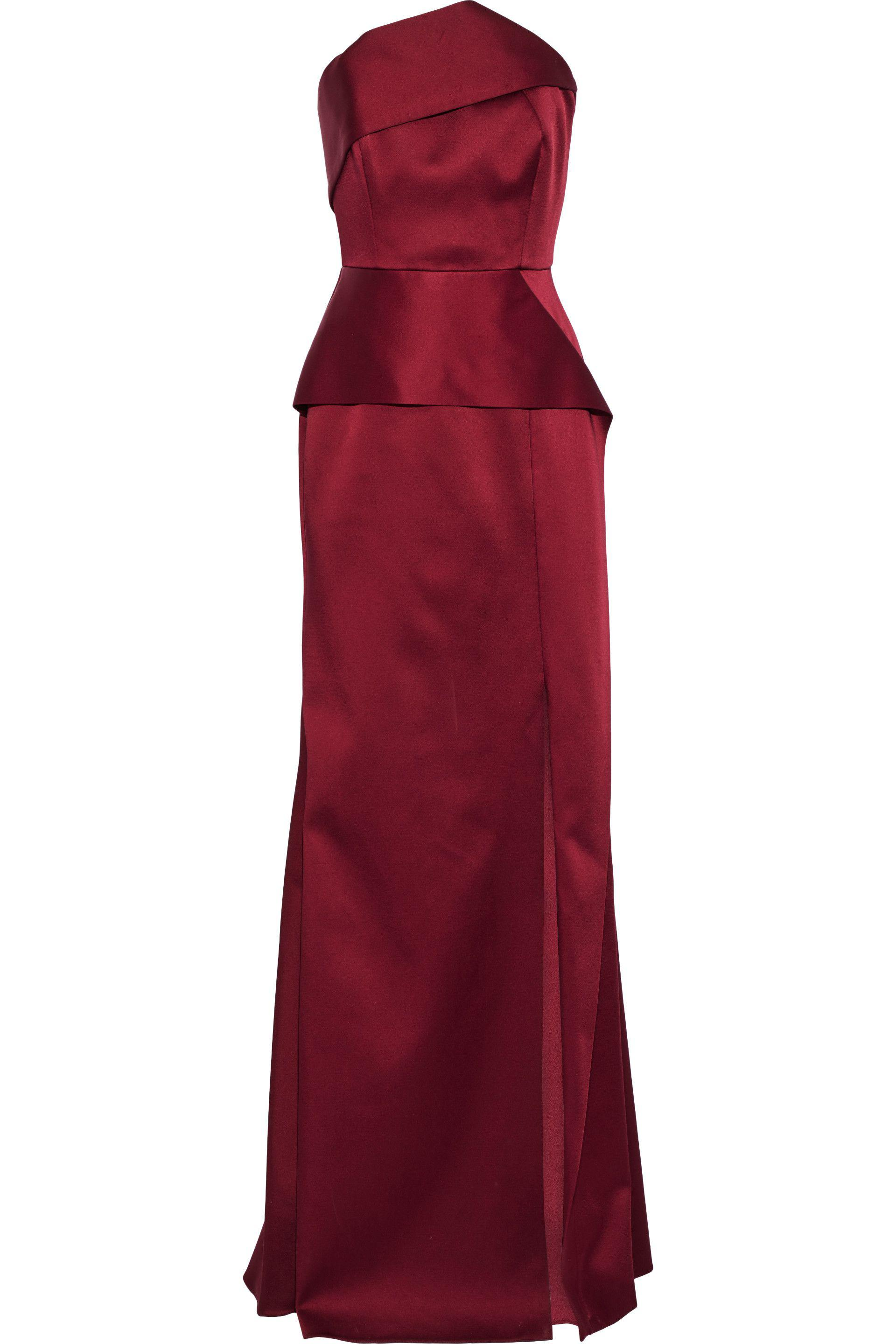 Roland Mouret Woman Addover Strapless Two-tone Satin-crepe Gown Claret Size 14 Roland Mouret Cheap Discount Authentic Outlet Low Shipping Fee Fake L7UlY2