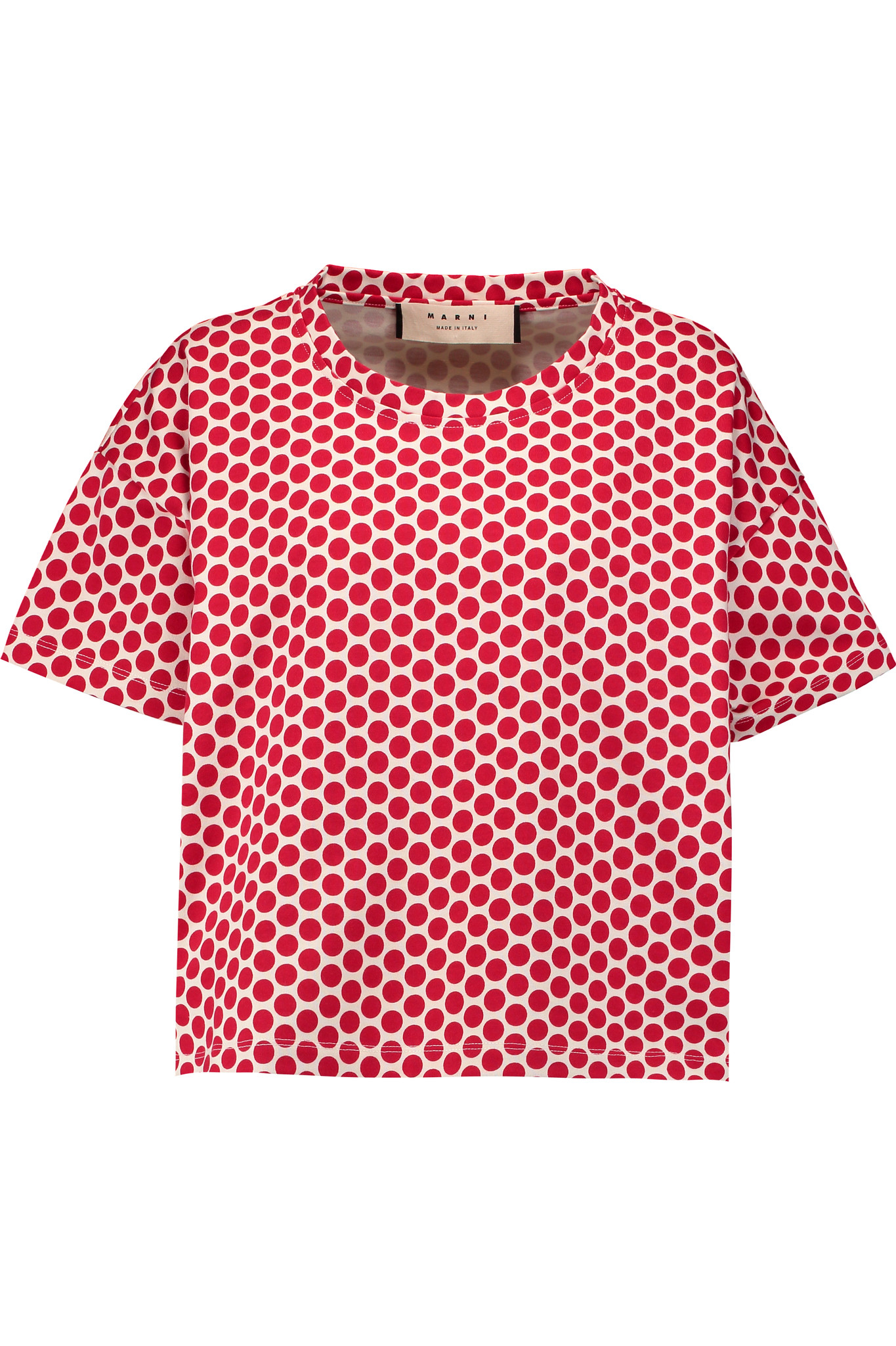 Marni polka dot cotton jersey t shirt in red lyst for White red polka dot shirt