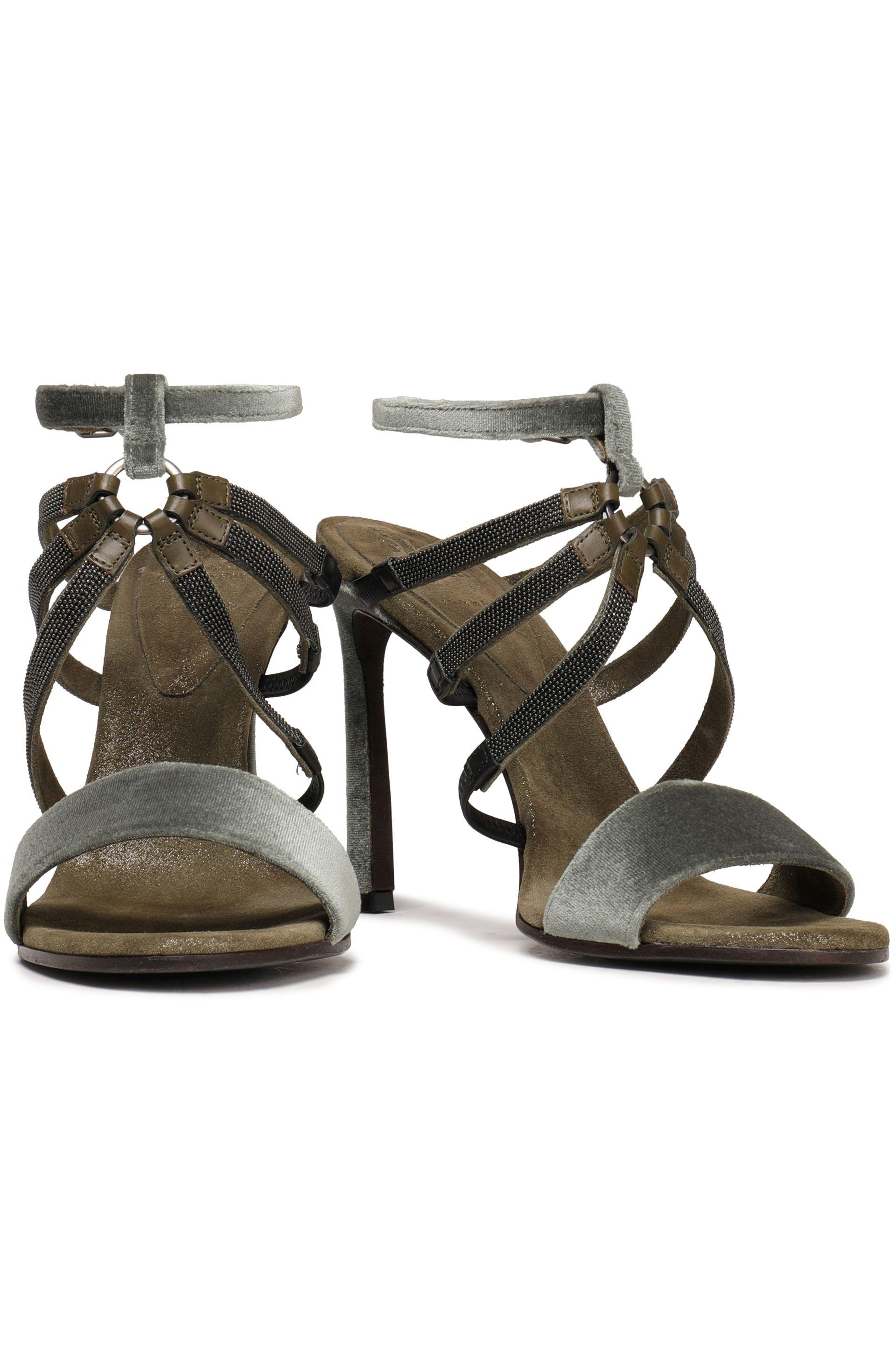 5bd60e992 Brunello Cucinelli - Woman Bead-embellished Velvet Sandals Leaf Green -  Lyst. View fullscreen