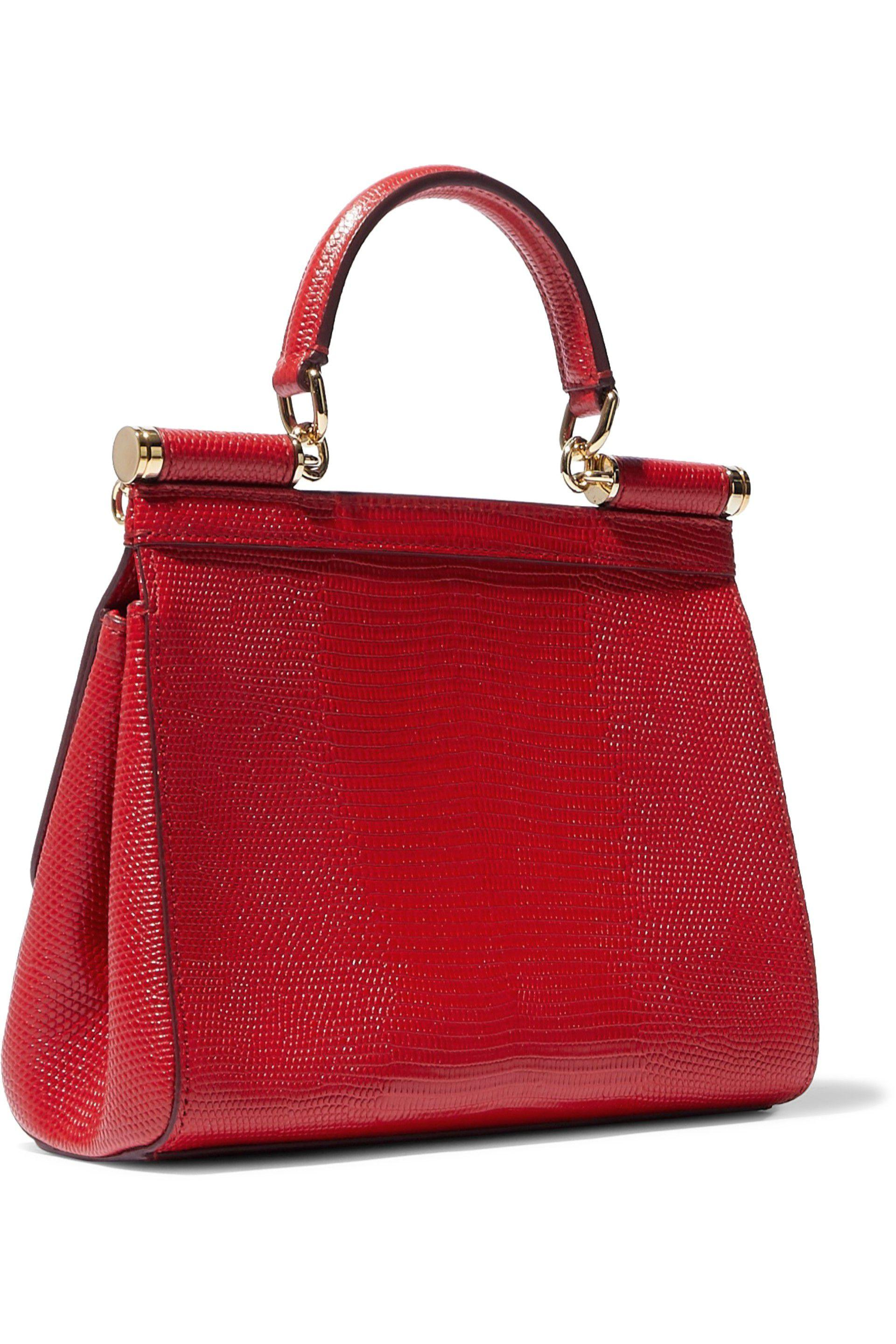dca23d87 Dolce & Gabbana Woman Lizard-effect Leather Shoulder Bag Red in Red ...