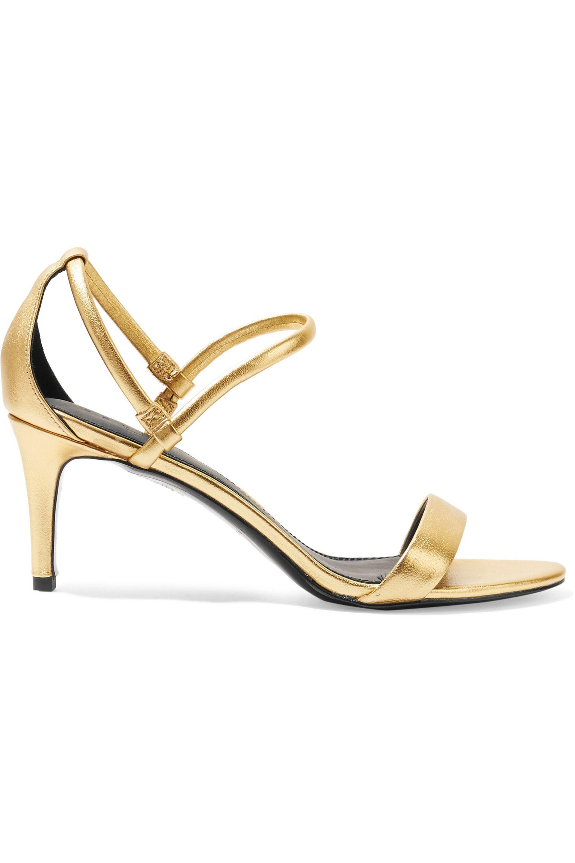204c0b3cf9a Lyst - Sandro Metallic Textured-leather Sandals in Metallic