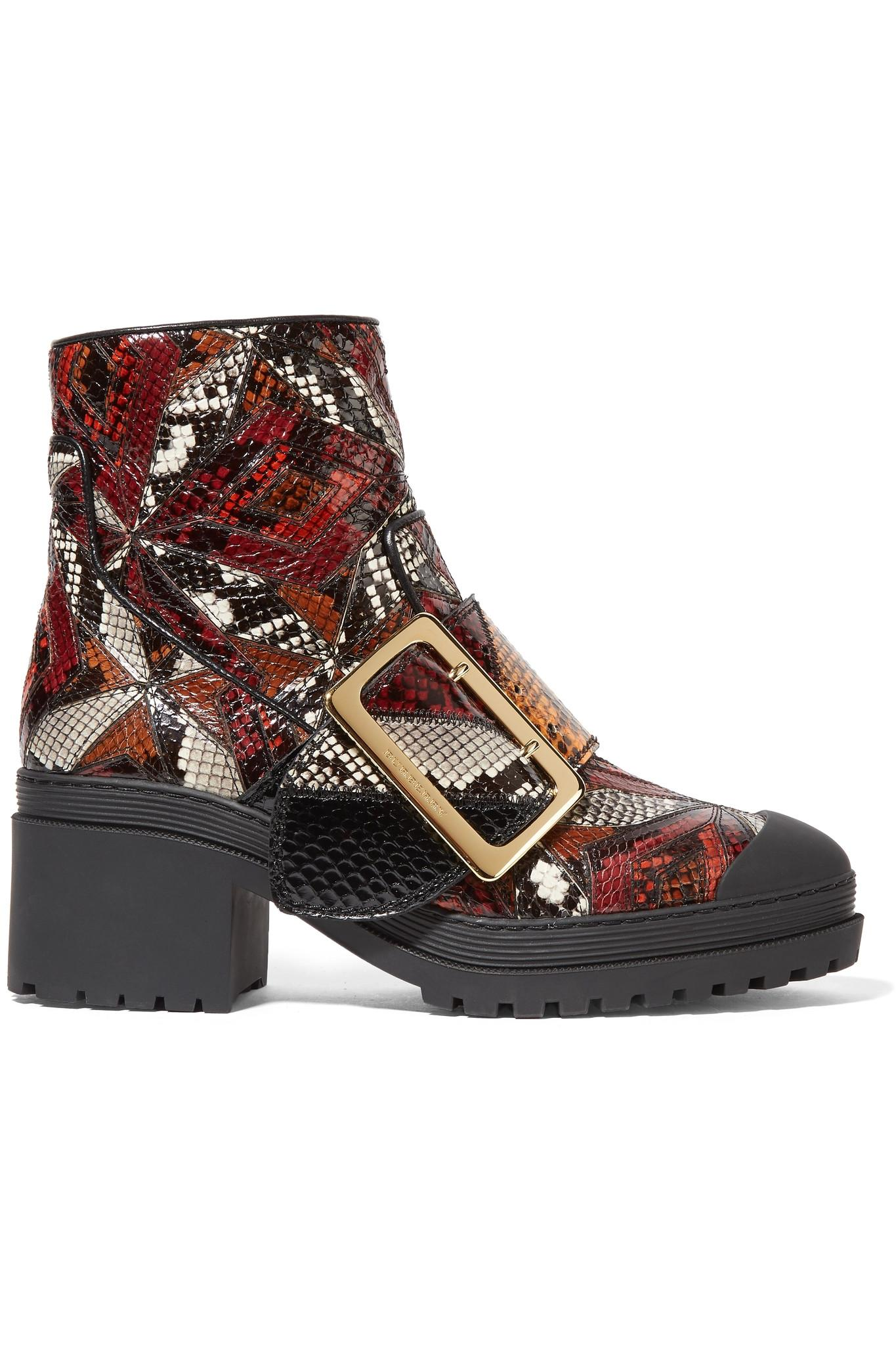 Lyst Burberry Patchwork Python Ankle Boots In Red
