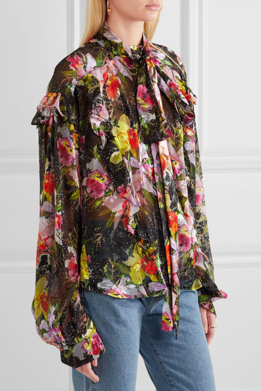 Preen By Thornton Bregazzi Woman Cora Printed Devoré Silk-blend Chiffon Top Black Size XL Preen 100% Guaranteed Cheap Online Cheap Sale Official For Cheap Sale Online Discount Shop Offer wYqN5vtox