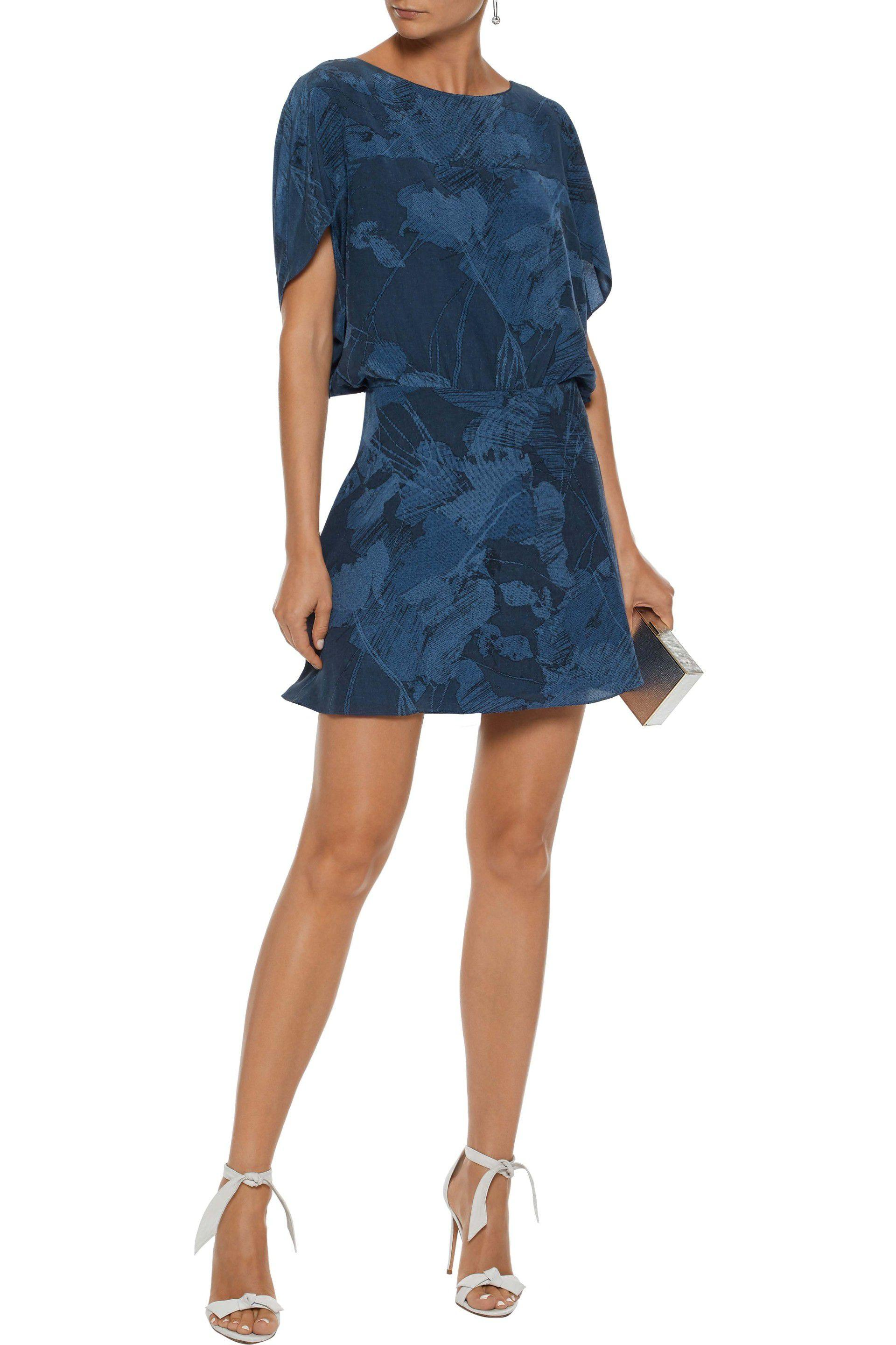 516644c2e1e Halston Woman Gathered Printed Silk-chiffon Mini Dress Navy in Blue ...