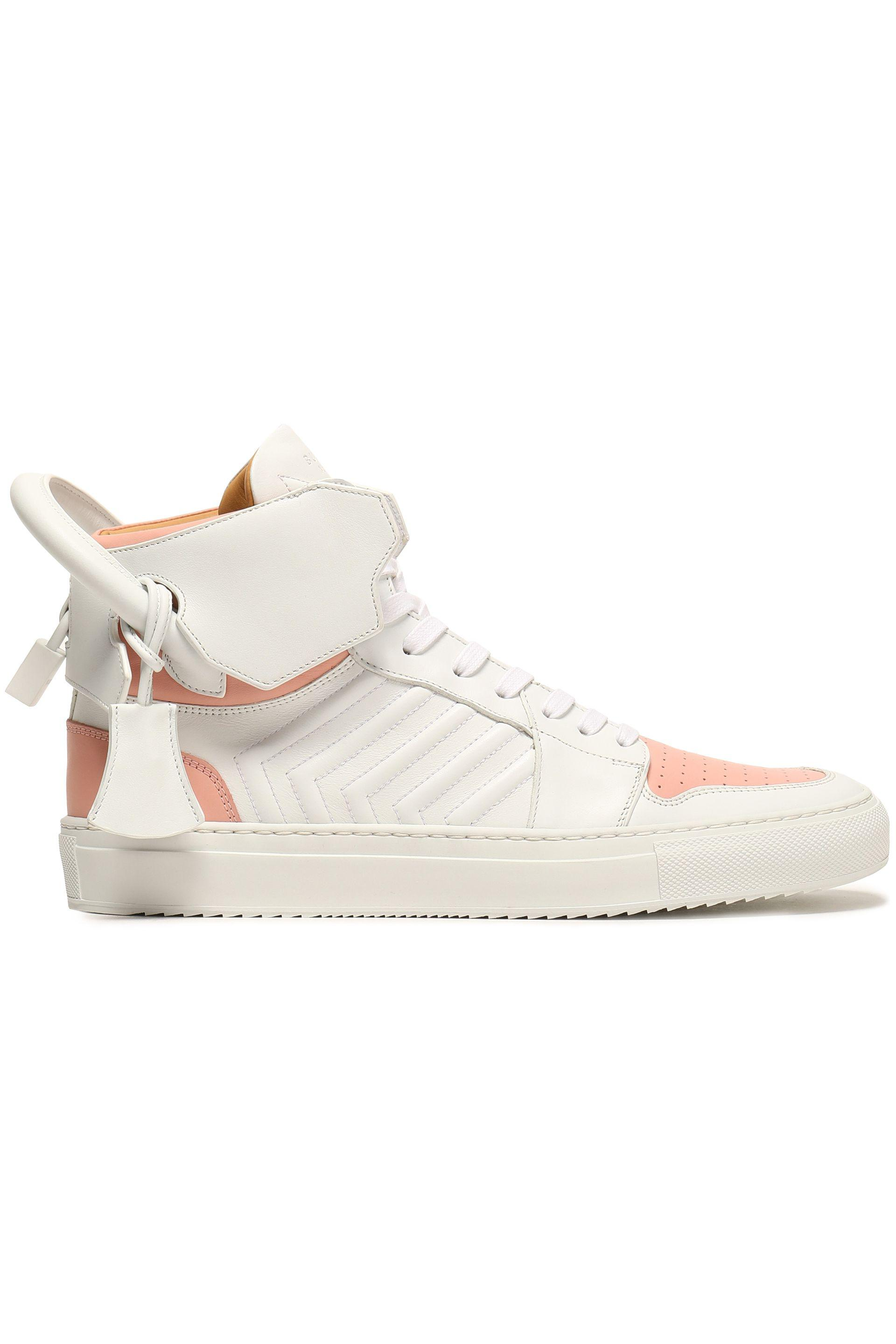 Buscemi Woman Embellished Two-tone Leather High-top Sneakers White Size 38 Buscemi cPhD58h
