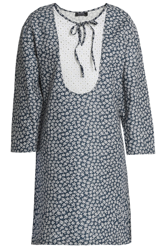 Wholesale Price Online Marketable Sale Online A.p.c. Woman Broderie Anglaise-paneled Floral-print Cotton And Linen-blend Mini Dress Navy Size 42 A.P.C. Outlet Get Authentic Recommend Cheap Sale Pictures 8h9lZ0wpHW
