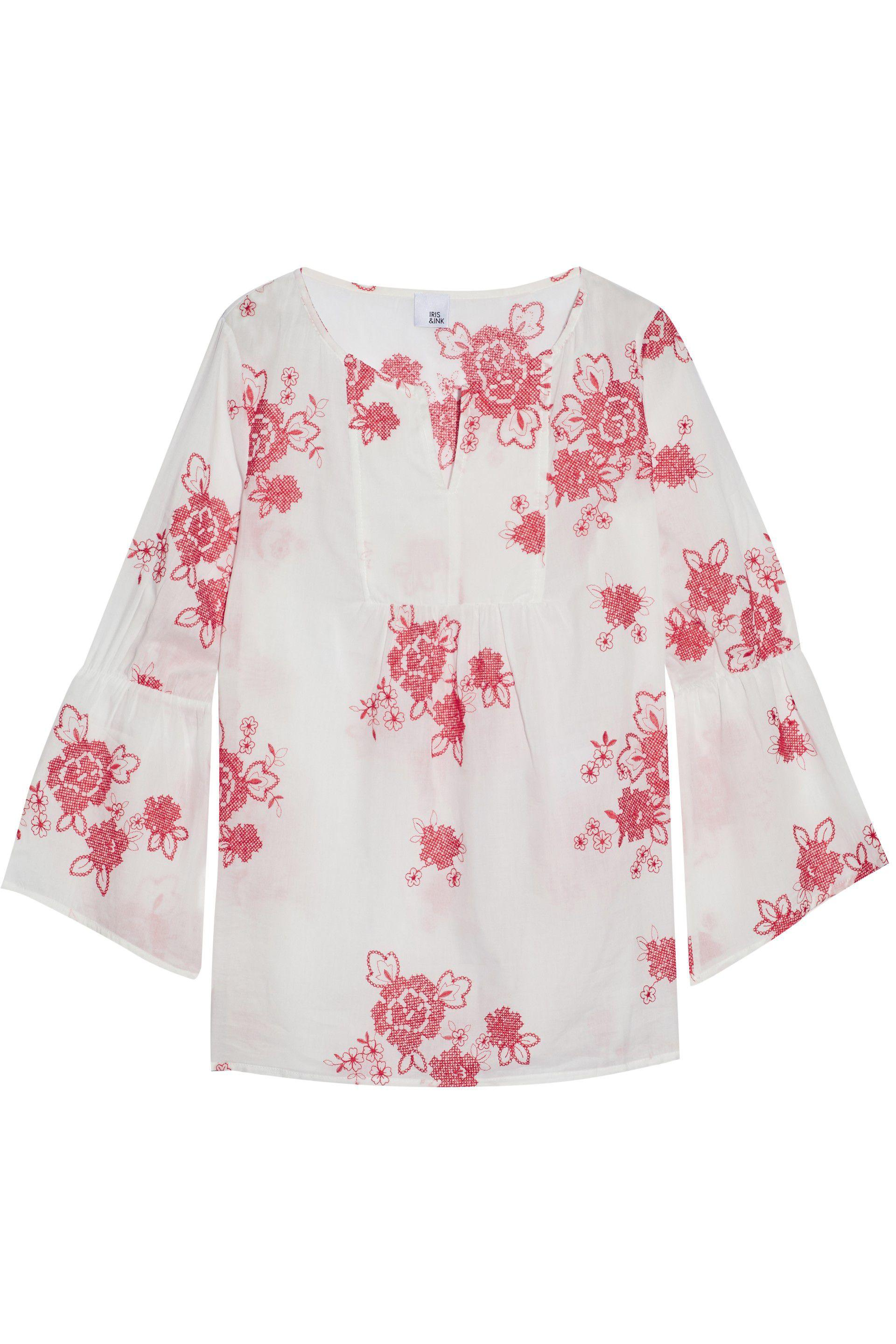 Iris & Ink Woman Gabriel Gathered Embroidered Cotton-gauze Blouse White Size 10 IRIS & INK Cheap Price Wholesale Clearance Official Site TEjiYmZ7