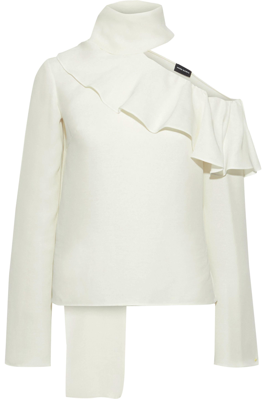 d89c2b9bf864a Magda Butrym Hanoi Cold-shoulder Ruffled Cotton And Silk-blend ...