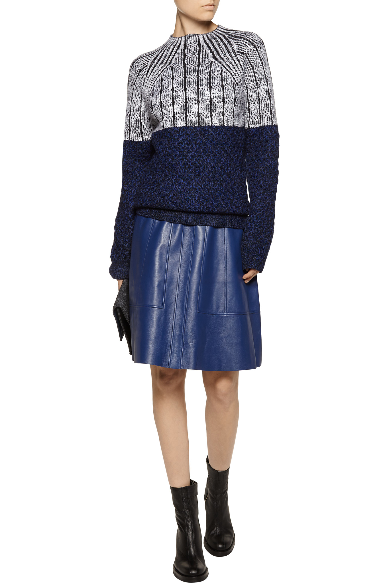 proenza schouler flared leather skirt in blue lyst