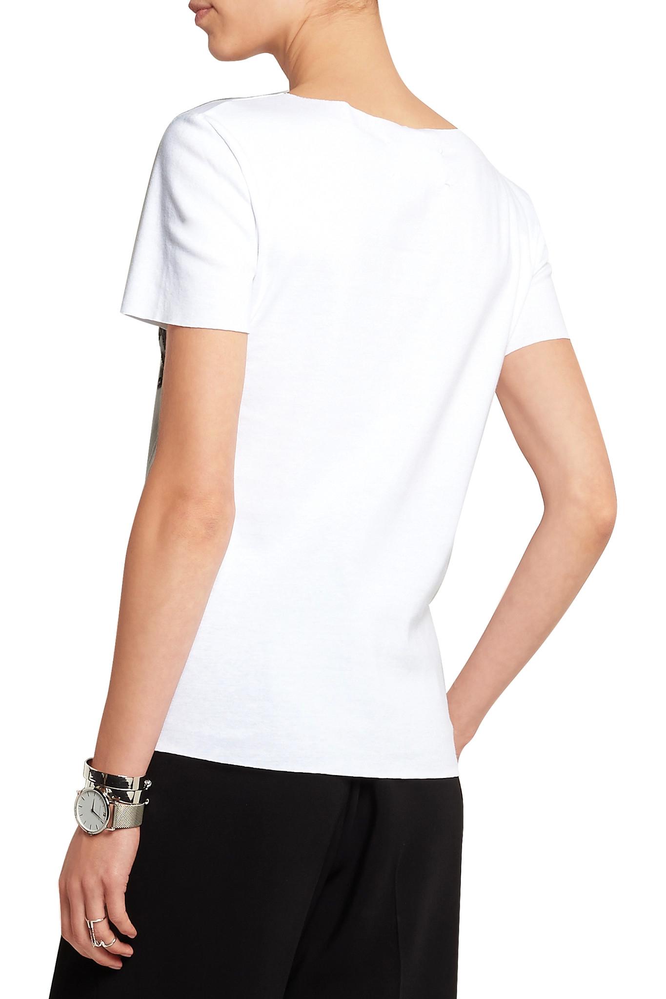 Maison margiela printed silk appliqu d cotton t shirt in for Silk white t shirt