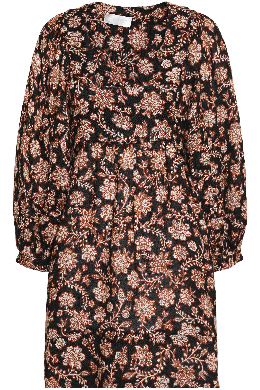670269a478 Lyst - Zimmermann Woman Floral-print Linen Mini Dress Black Size 2 ...