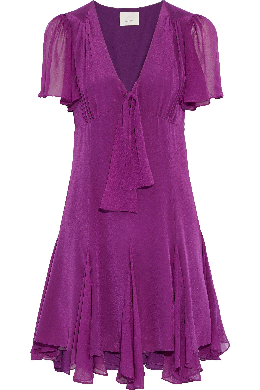 8e8727e0fe37a Cinq À Sept Woman Annali Knotted Silk Crepe De Chine Mini Dress ...